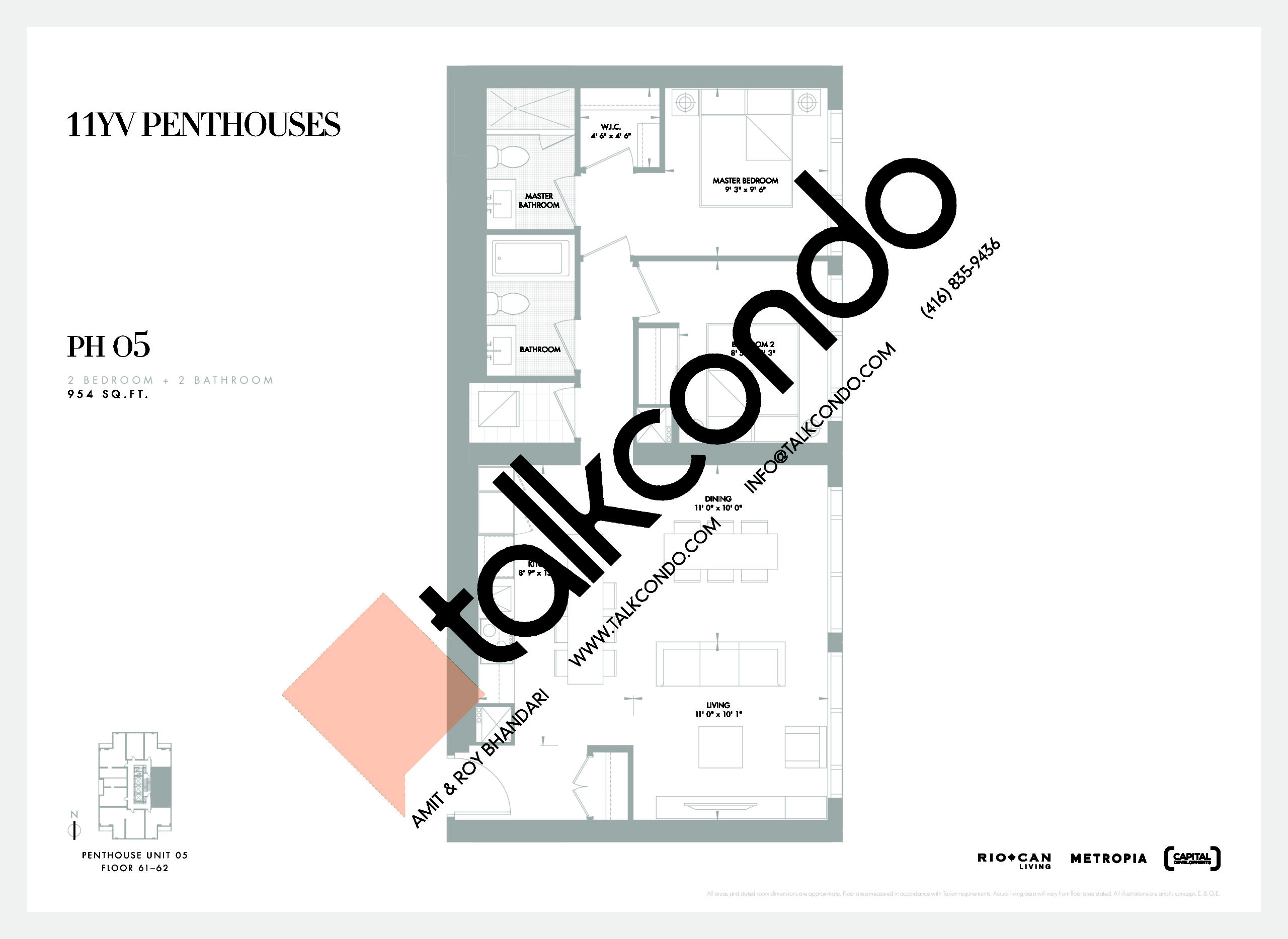 PH 05 Floor Plan at 11YV Condos - 954 sq.ft