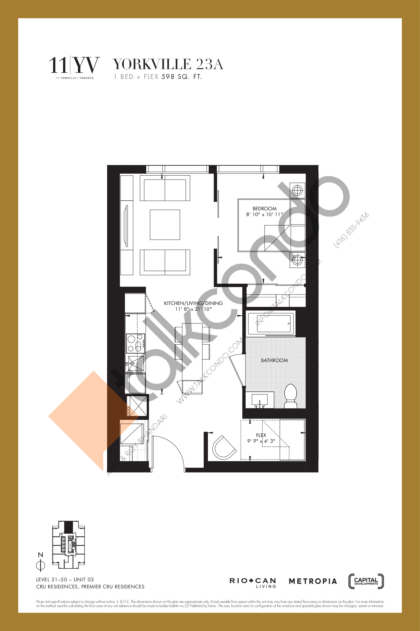 Yorkville 23A Floor Plan at 11YV Condos - 598 sq.ft