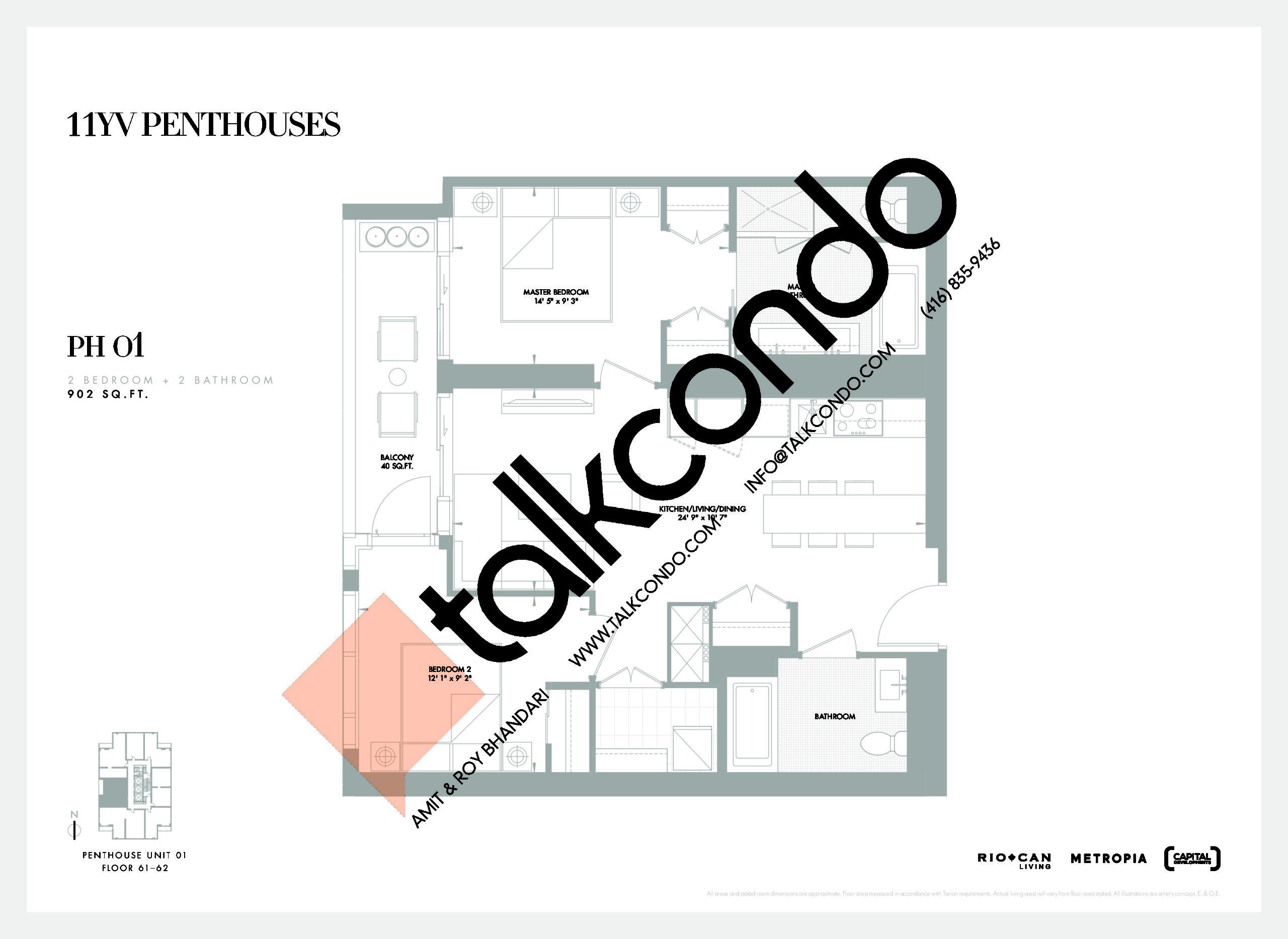 PH 01 Floor Plan at 11YV Condos - 902 sq.ft