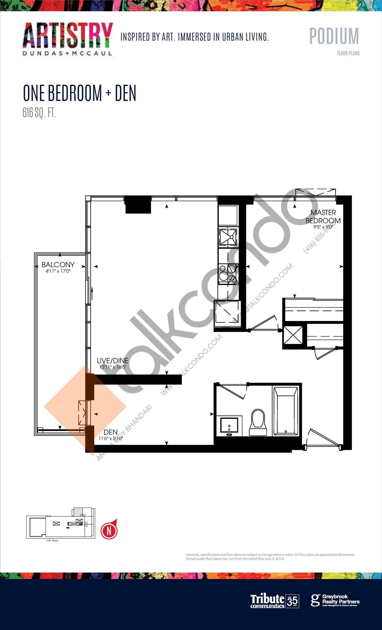 616 sq. ft. - Podium Floor Plan at Artistry Condos - 616 sq.ft