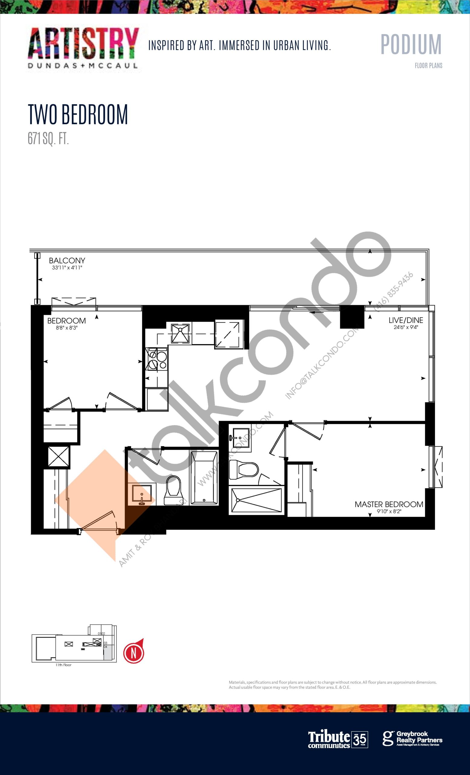 671 sq. ft. - Podium Floor Plan at Artistry Condos - 671 sq.ft