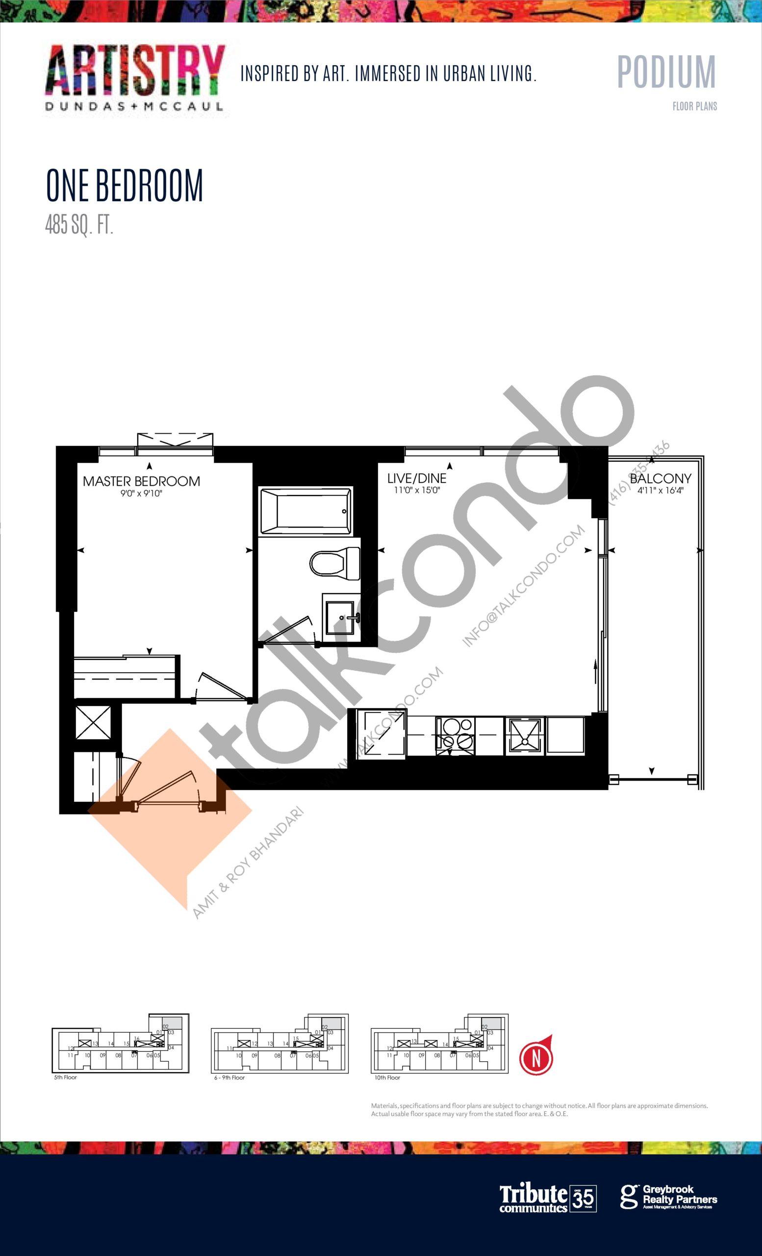 485 sq. ft. - Podium Floor Plan at Artistry Condos - 485 sq.ft