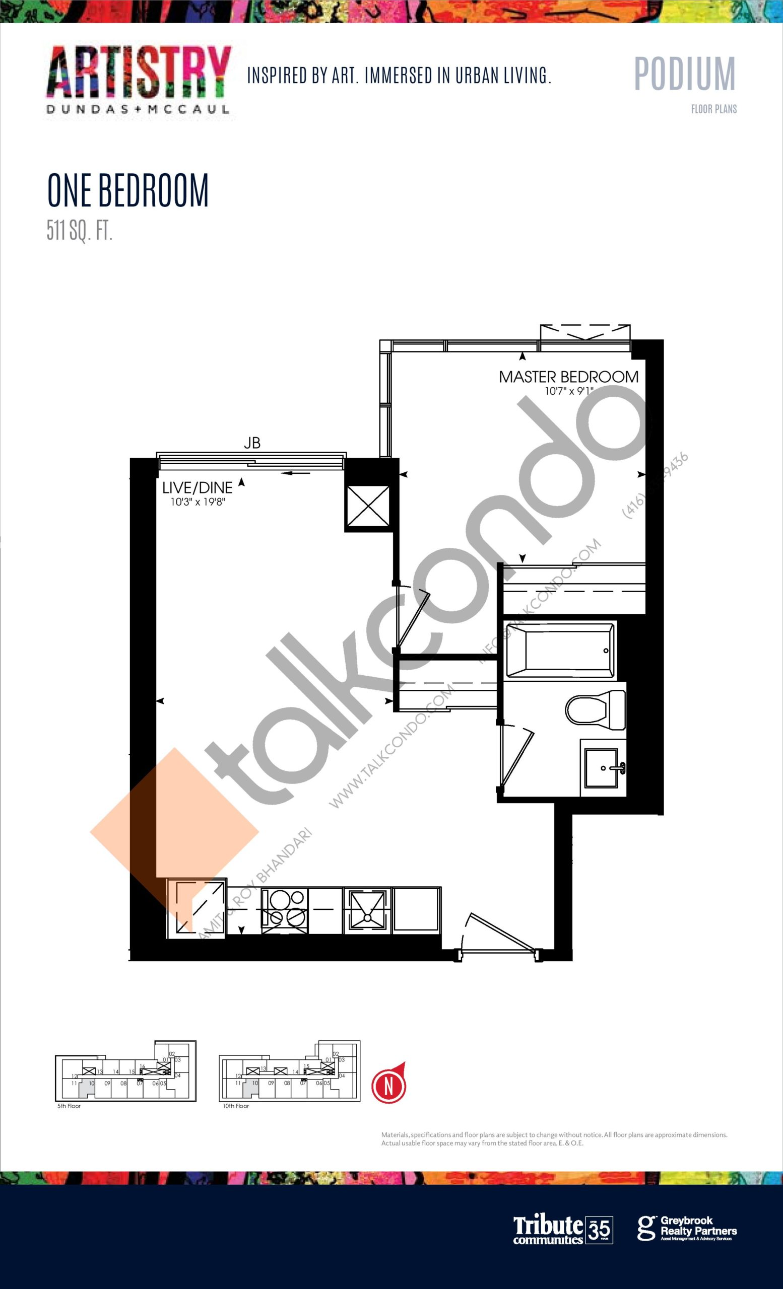 511 sq. ft. - Podium Floor Plan at Artistry Condos - 511 sq.ft