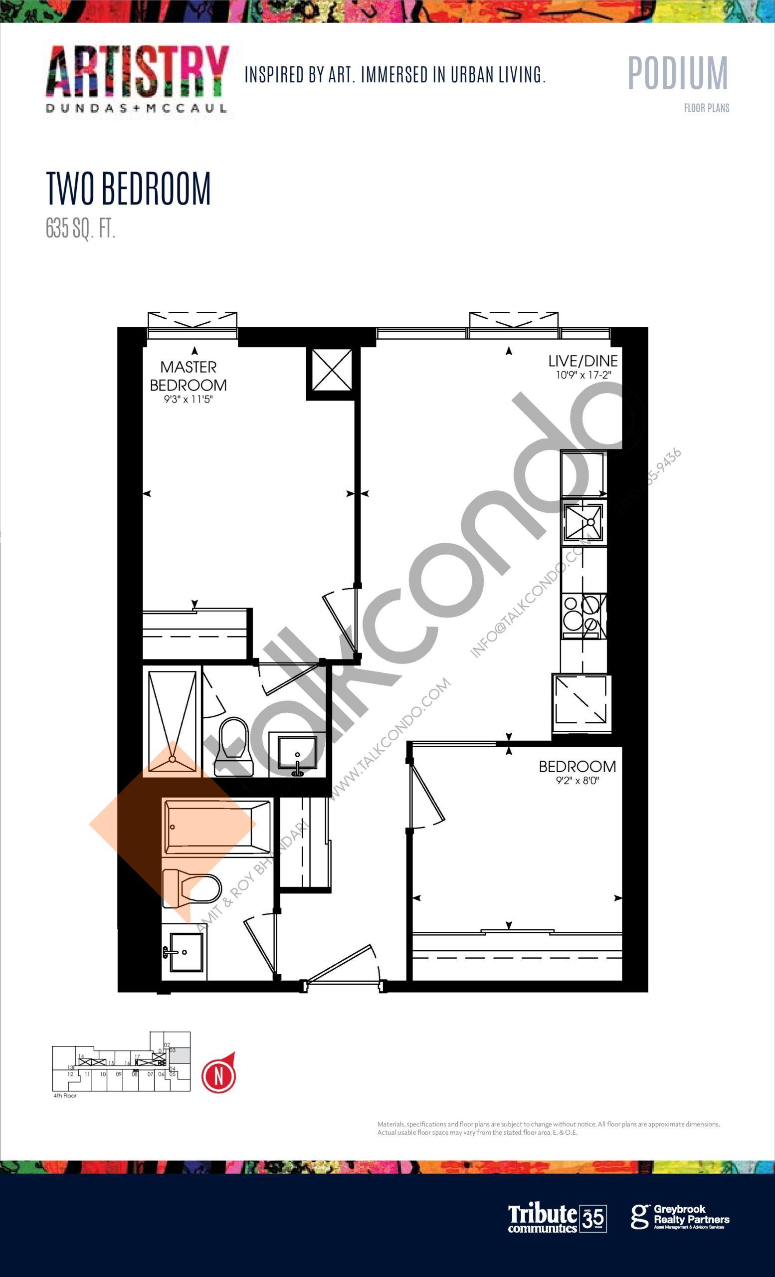 635 sq. ft. - Podium Floor Plan at Artistry Condos - 635 sq.ft
