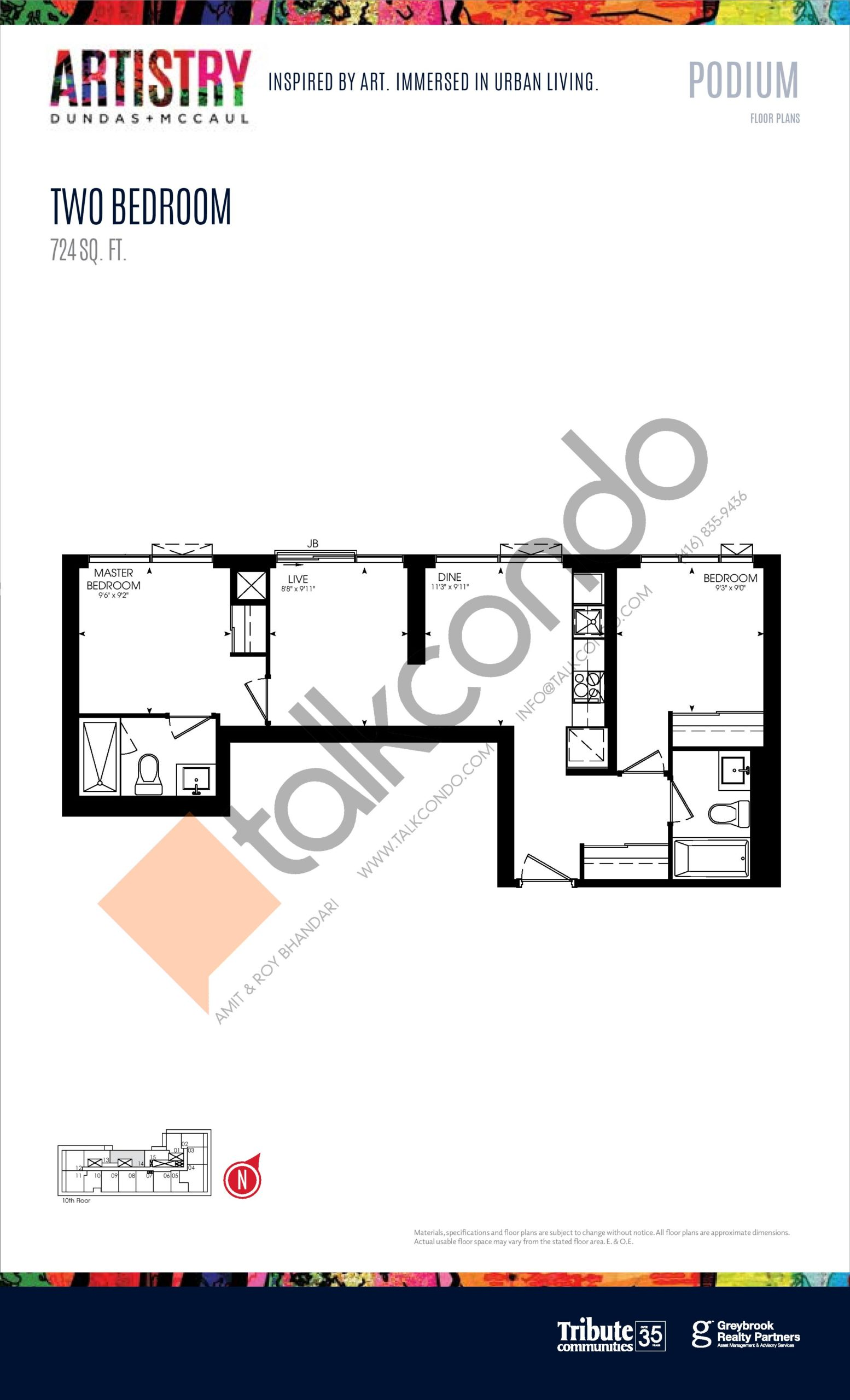 724 sq. ft. - Podium Floor Plan at Artistry Condos - 724 sq.ft