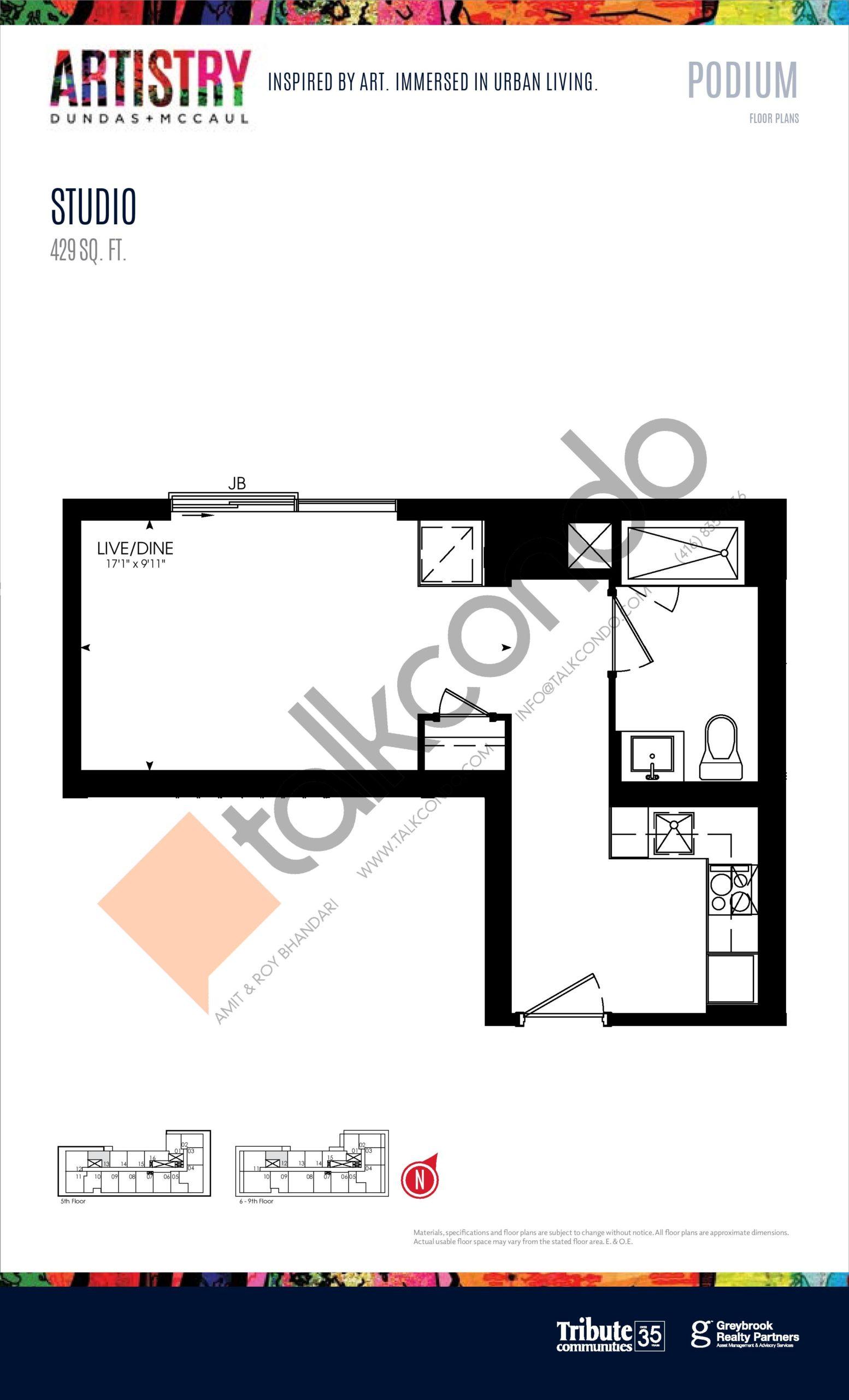 429 sq. ft. - Podium Floor Plan at Artistry Condos - 429 sq.ft