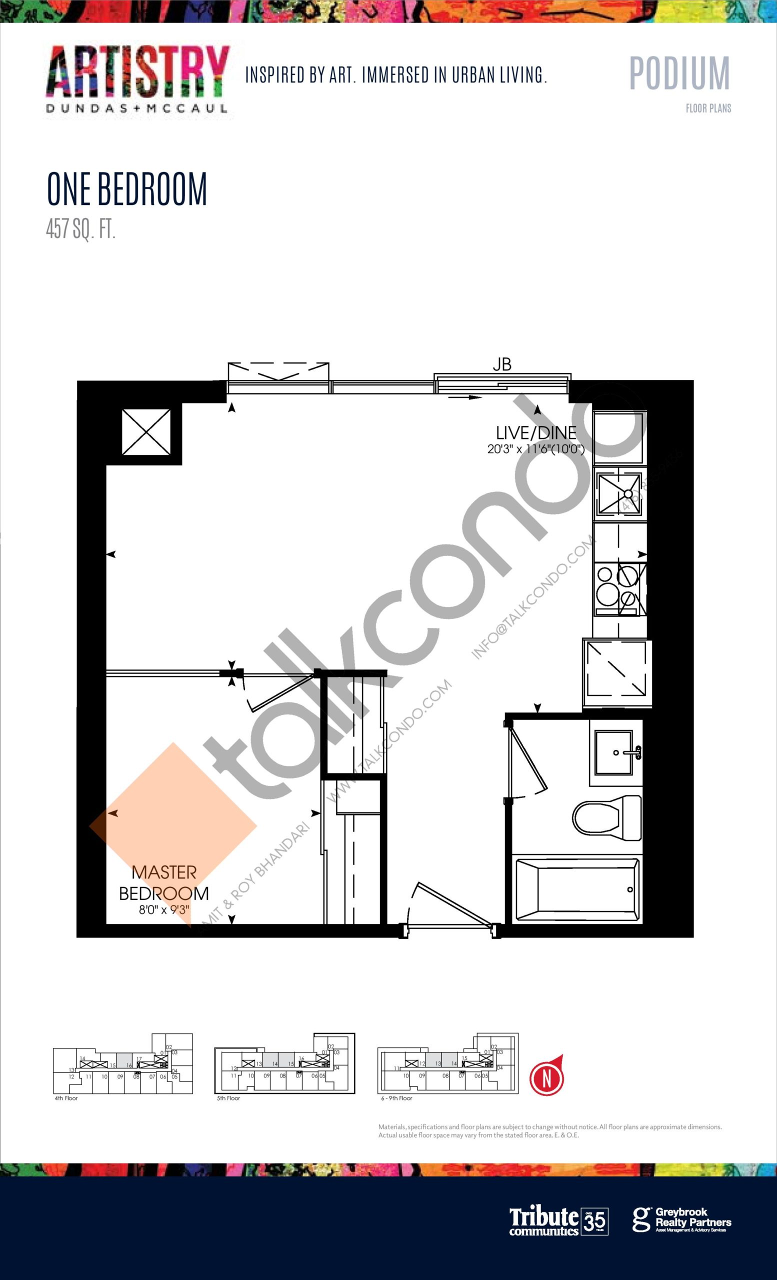 457 sq. ft. - Podium Floor Plan at Artistry Condos - 457 sq.ft
