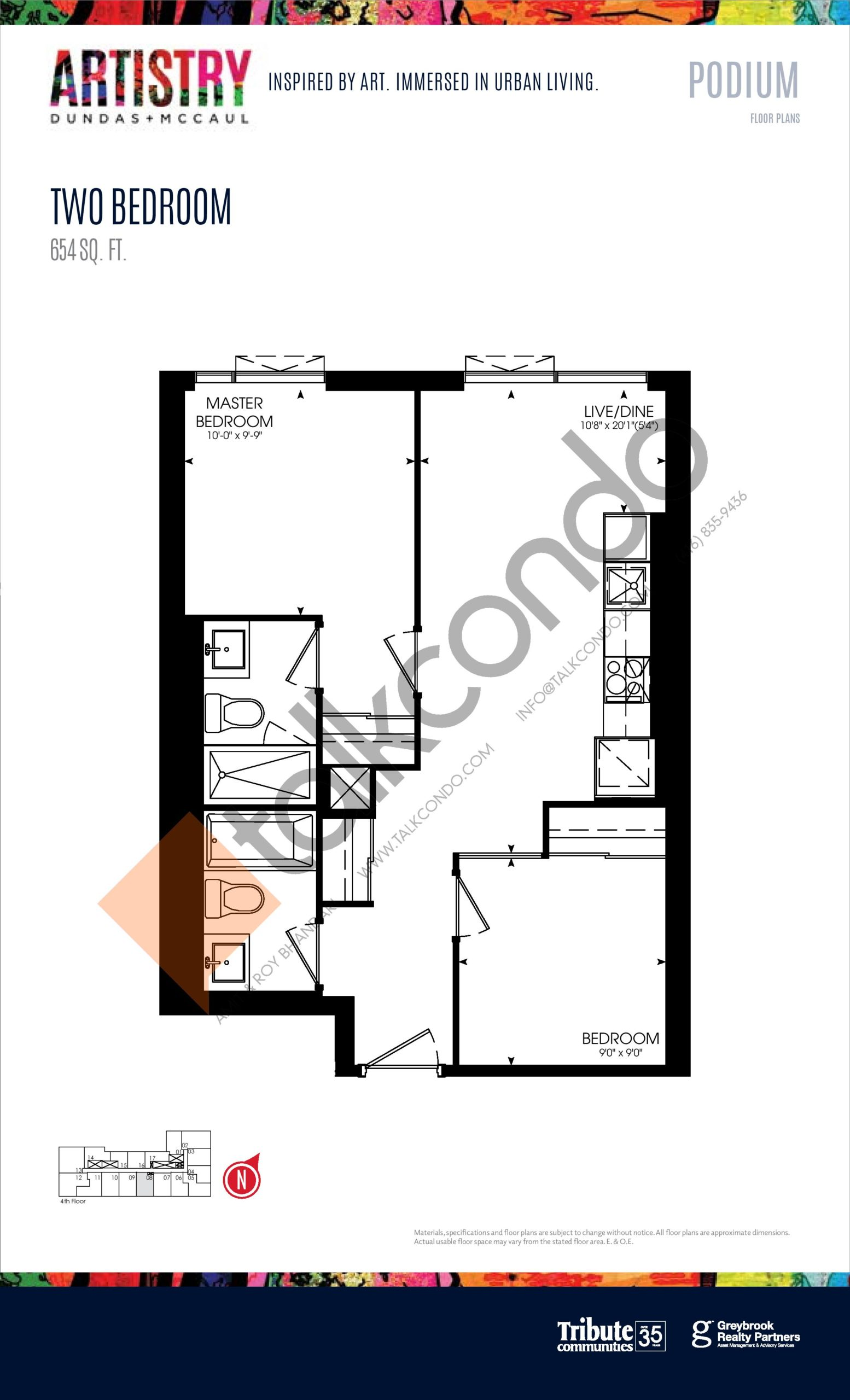 654 sq. ft. - Podium Floor Plan at Artistry Condos - 654 sq.ft