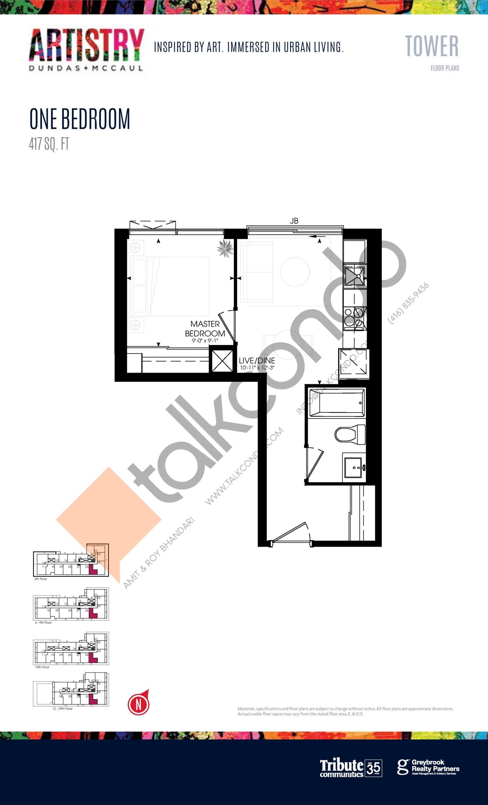 417 sq. ft. - Tower Floor Plan at Artistry Condos - 417 sq.ft