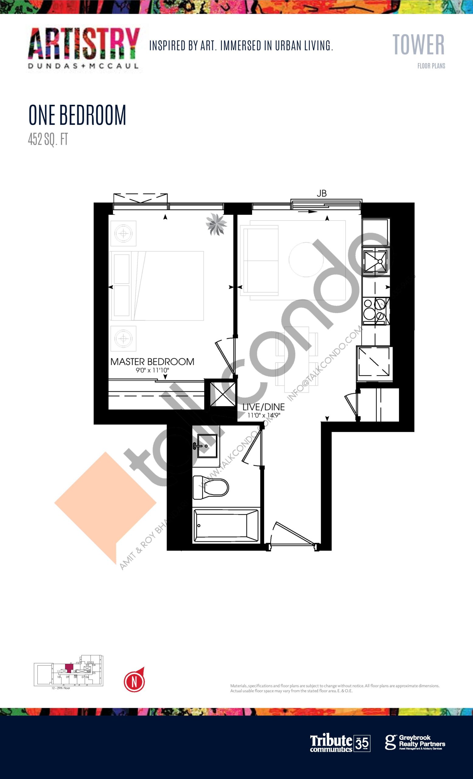 452 sq. ft. - Tower Floor Plan at Artistry Condos - 452 sq.ft