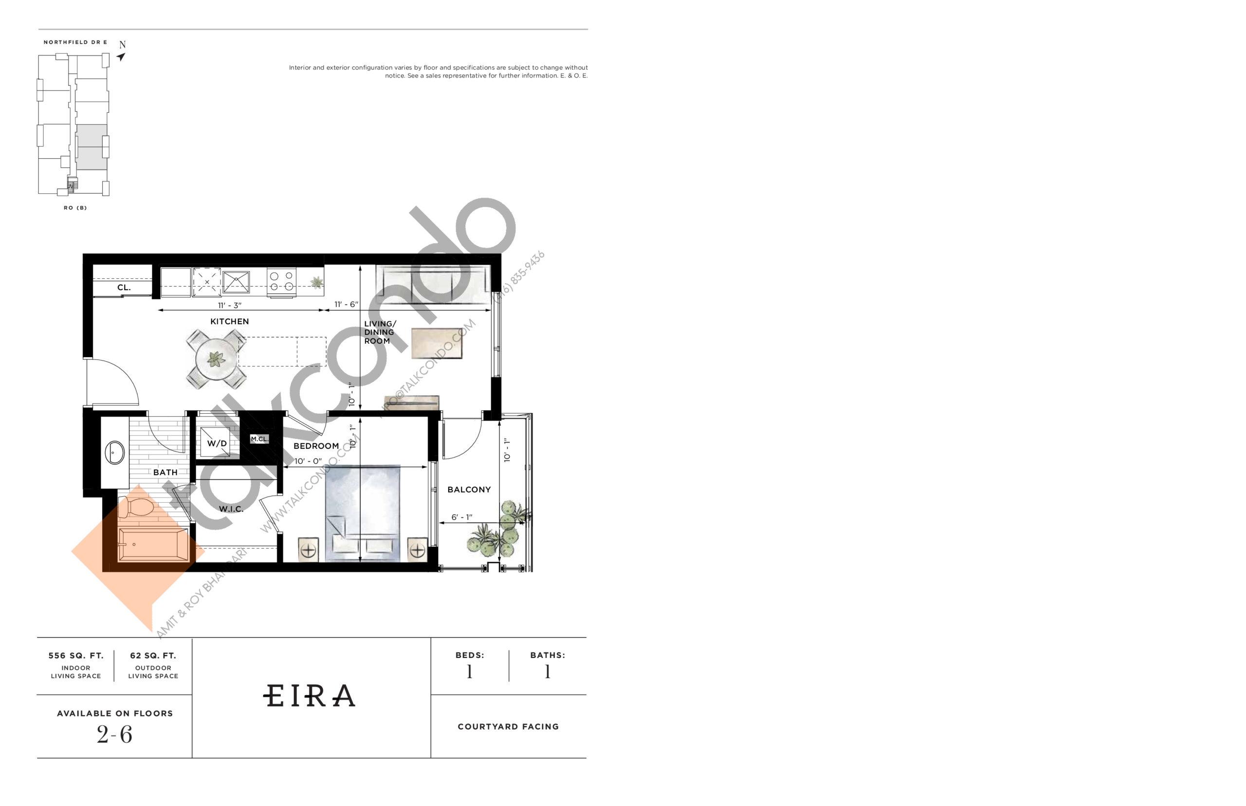 Eira Floor Plan at Ro at Blackstone Condos - 556 sq.ft