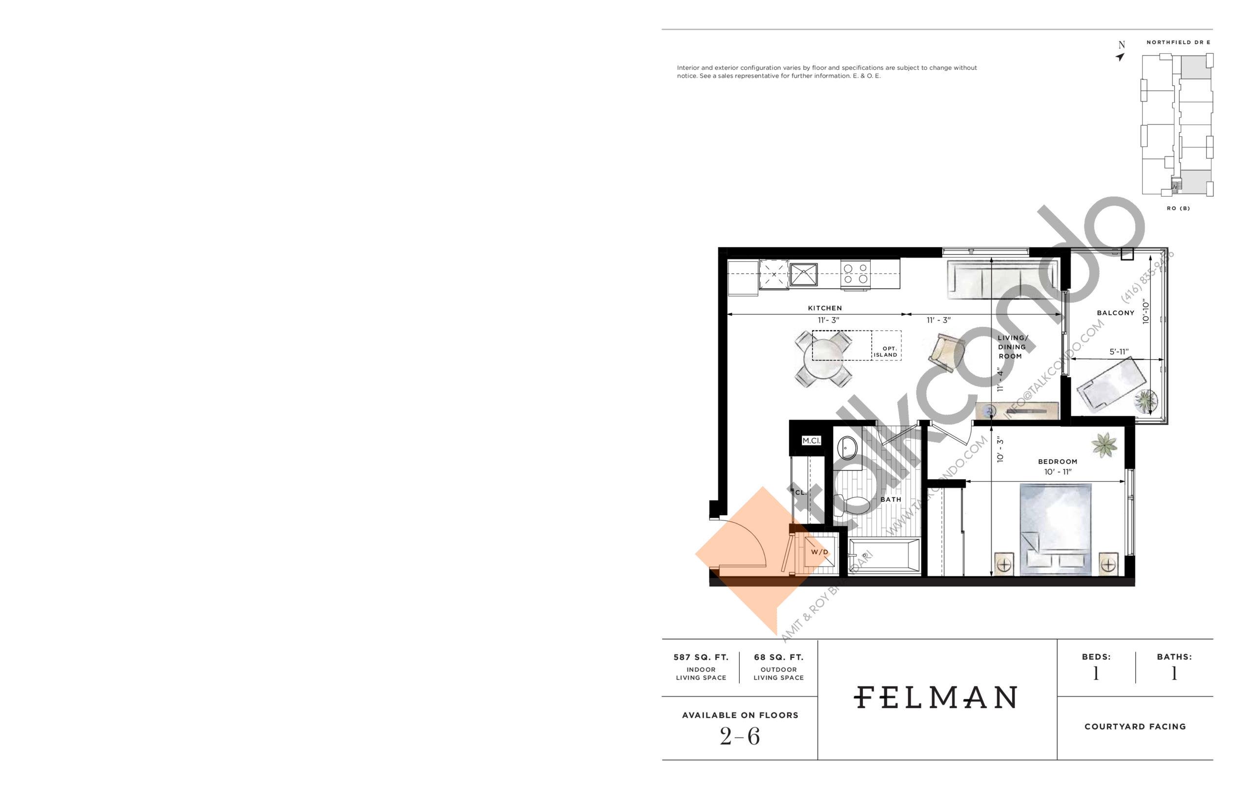 Felman Floor Plan at Ro at Blackstone Condos - 587 sq.ft