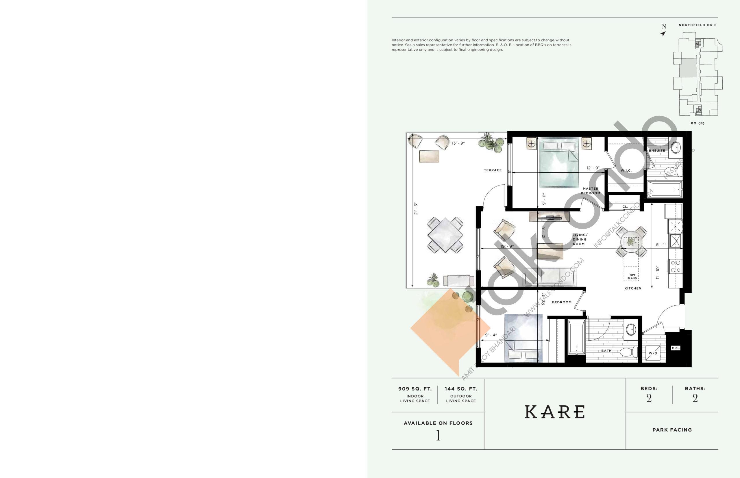 Kare Floor Plan at Ro at Blackstone Condos - 909 sq.ft