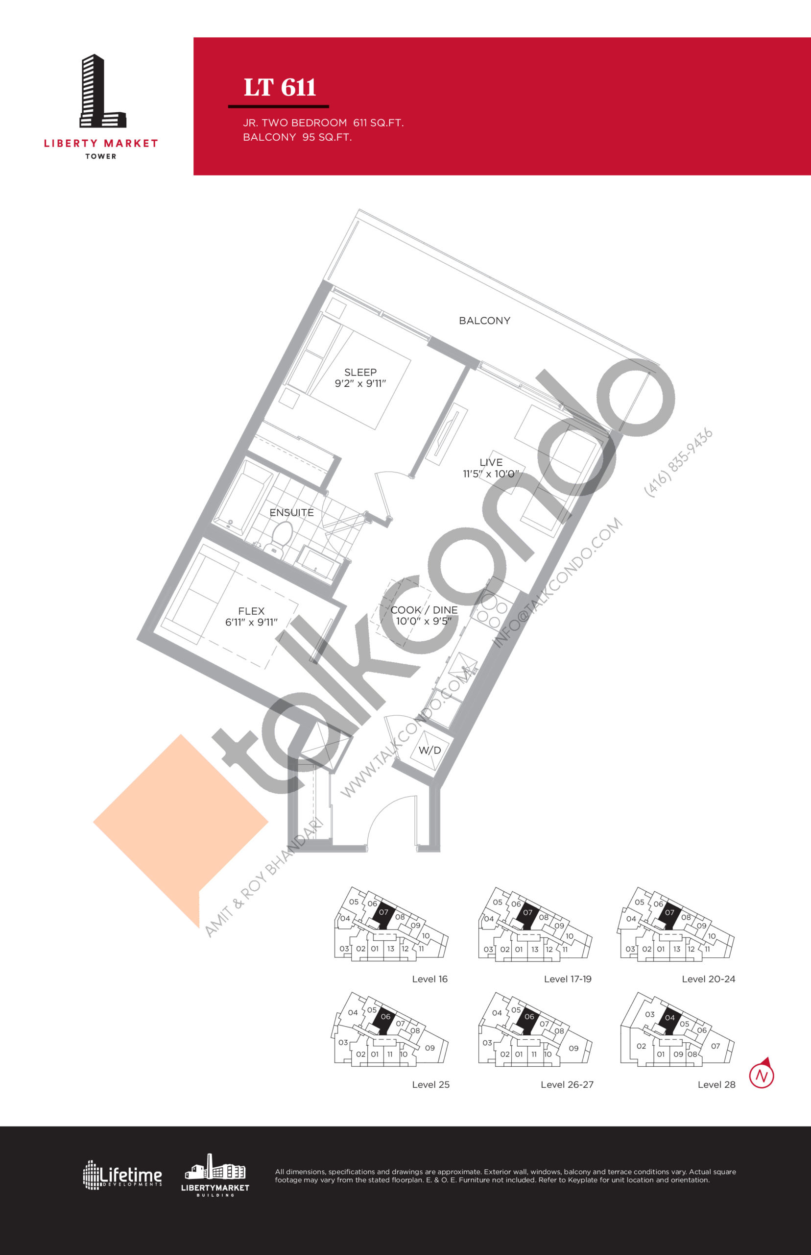 LT 611 - Tower Collection Floor Plan at Liberty Market Tower Condos - 611 sq.ft
