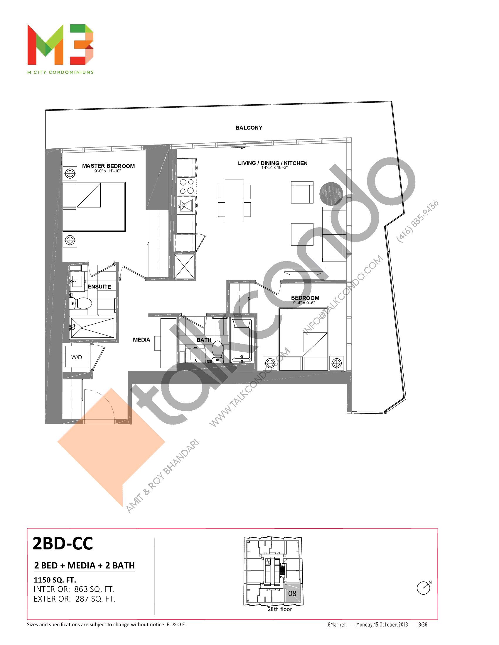 2BD-CC Floor Plan at M3 Condos - 863 sq.ft