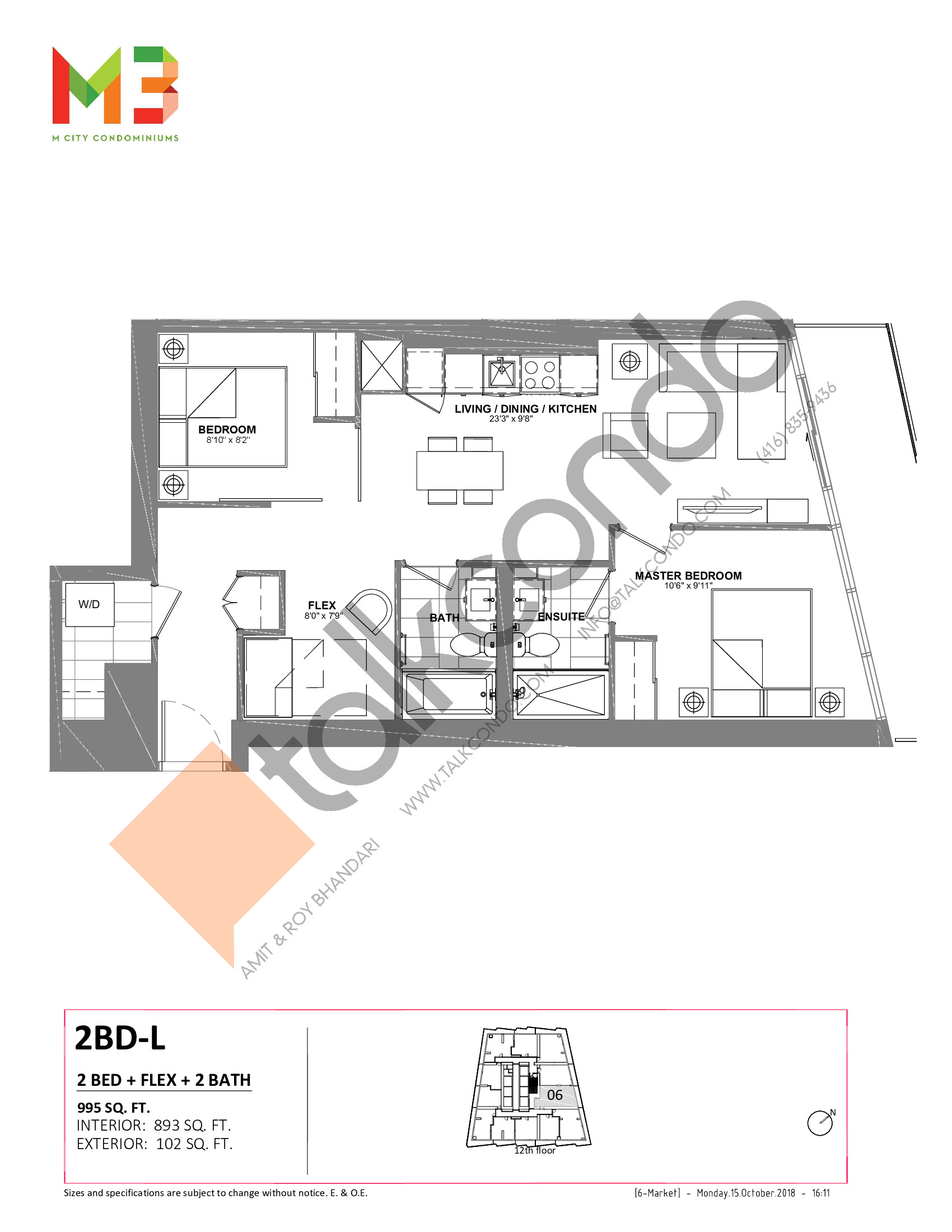2BD-L Floor Plan at M3 Condos - 893 sq.ft