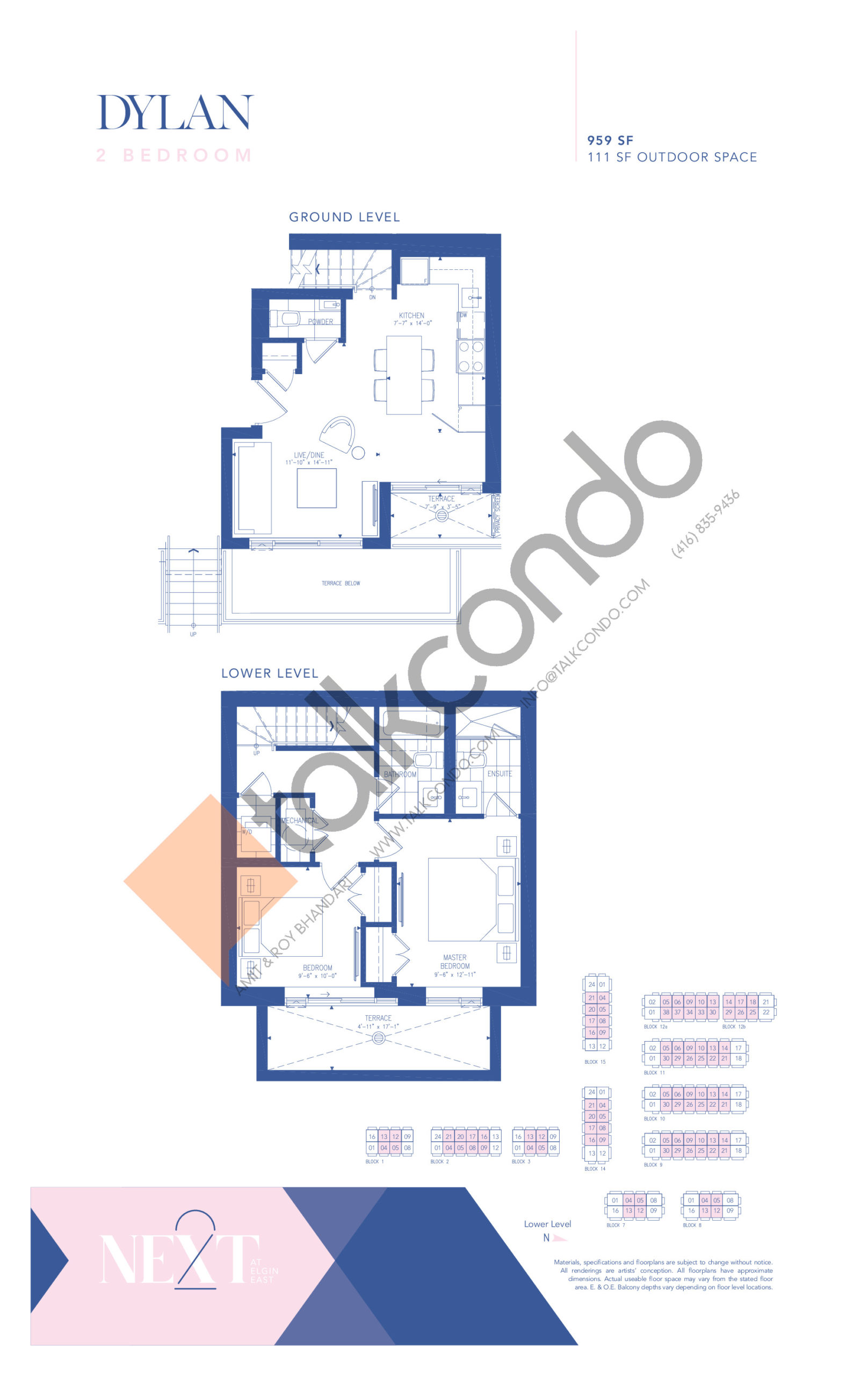Dylan Floor Plan at NEXT - Elgin East Phase 2 Condos - 959 sq.ft