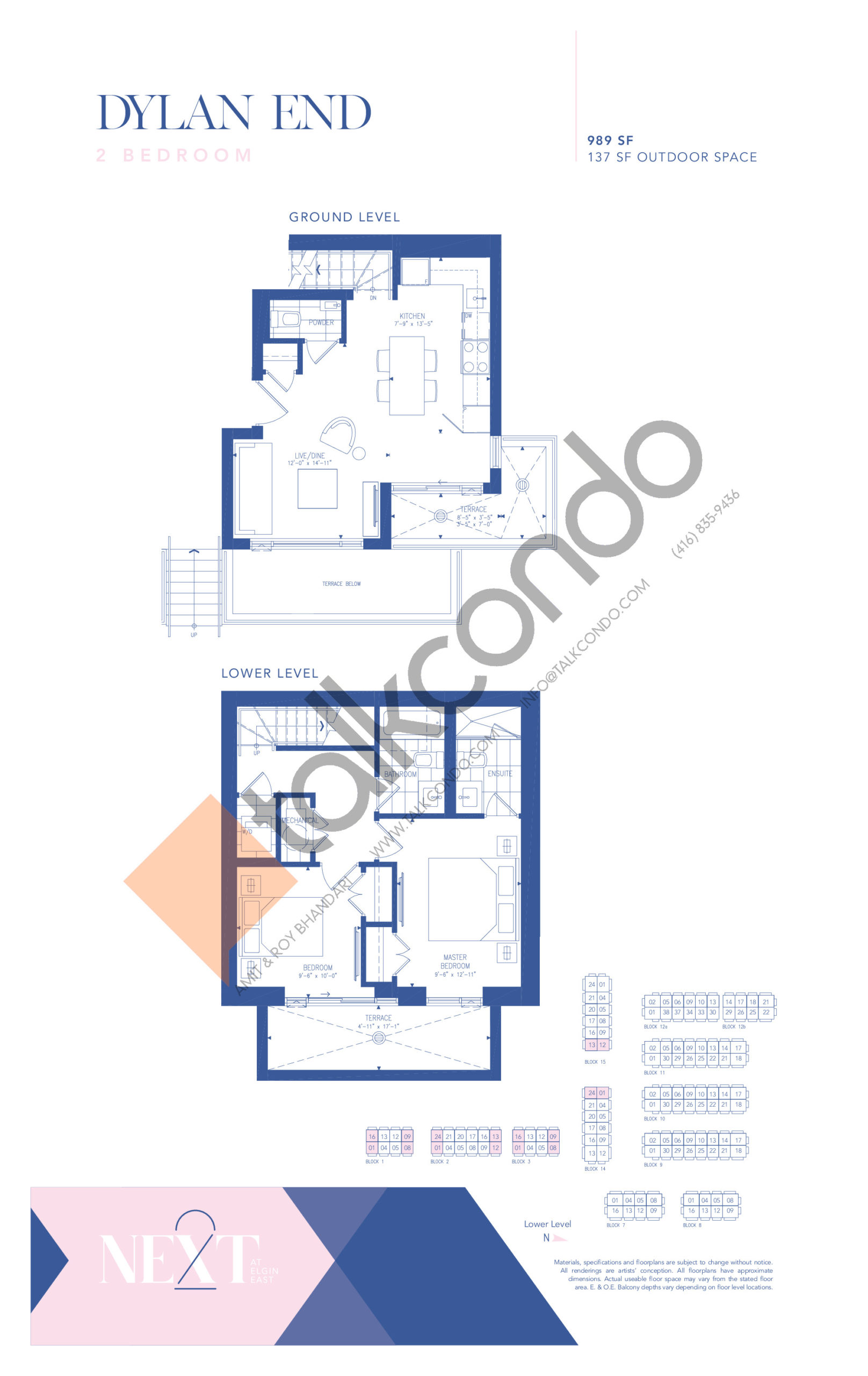 Dylan End Floor Plan at NEXT - Elgin East Phase 2 Condos - 989 sq.ft