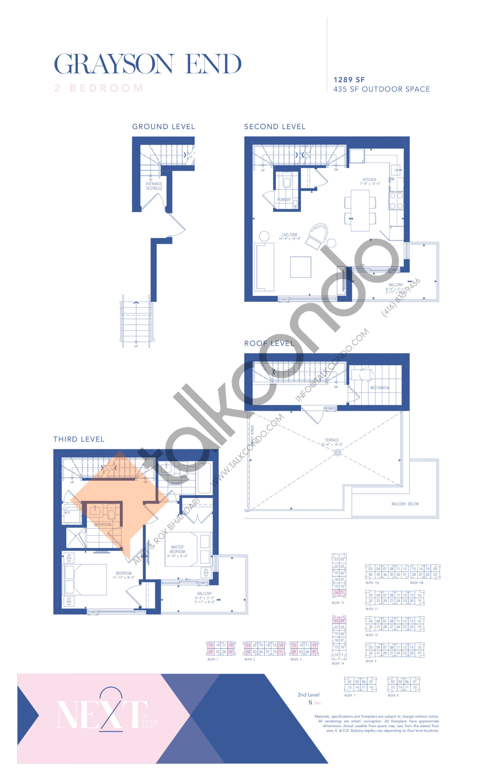 Grayson End Floor Plan at NEXT - Elgin East Phase 2 Condos - 1289 sq.ft