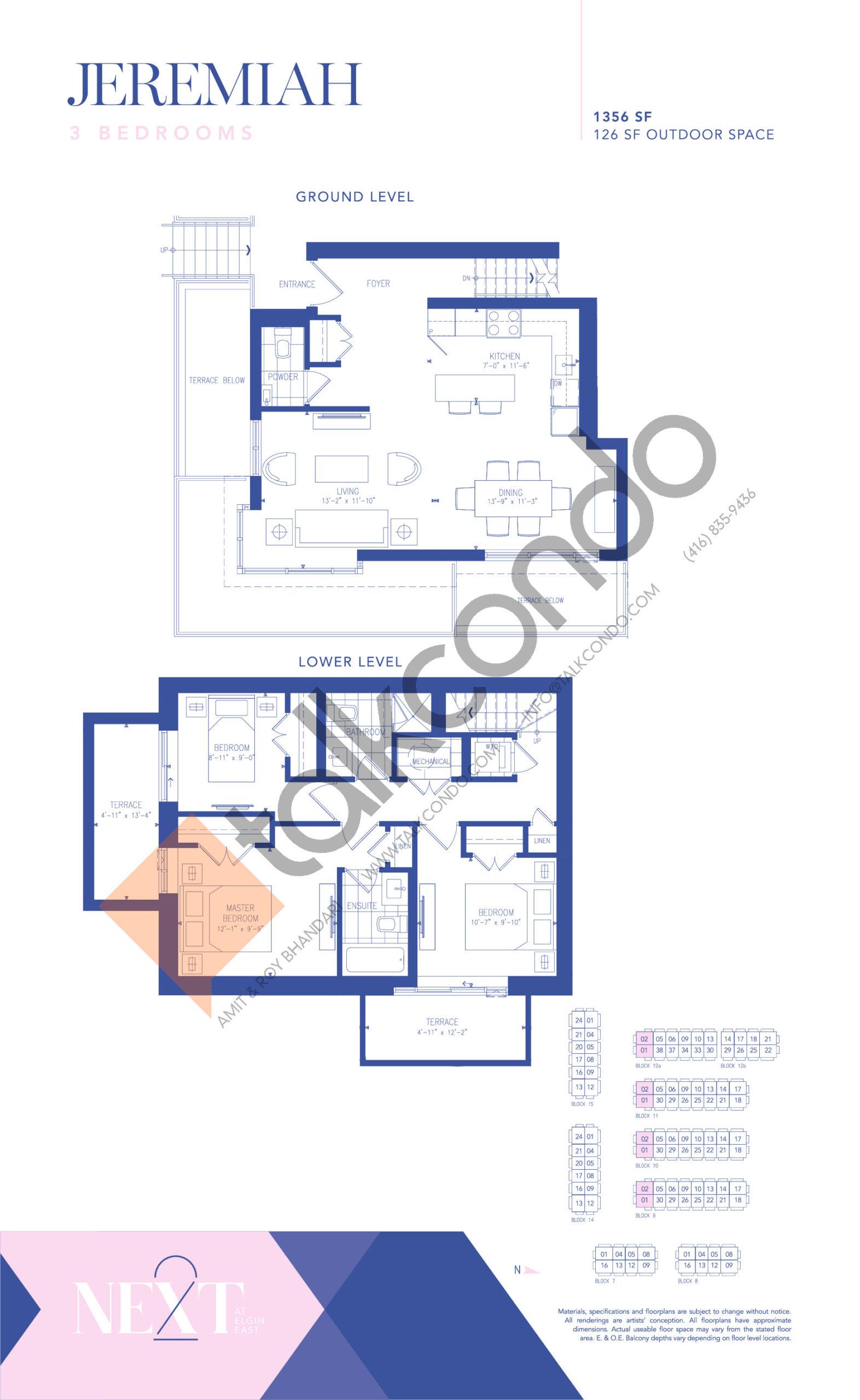 Jeremiah Floor Plan at NEXT - Elgin East Phase 2 Condos - 1356 sq.ft