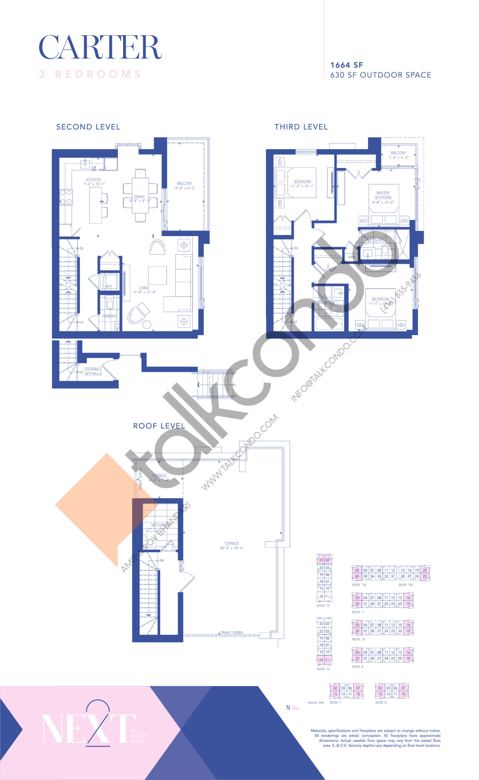 Carter Floor Plan at NEXT - Elgin East Phase 2 Condos - 1664 sq.ft