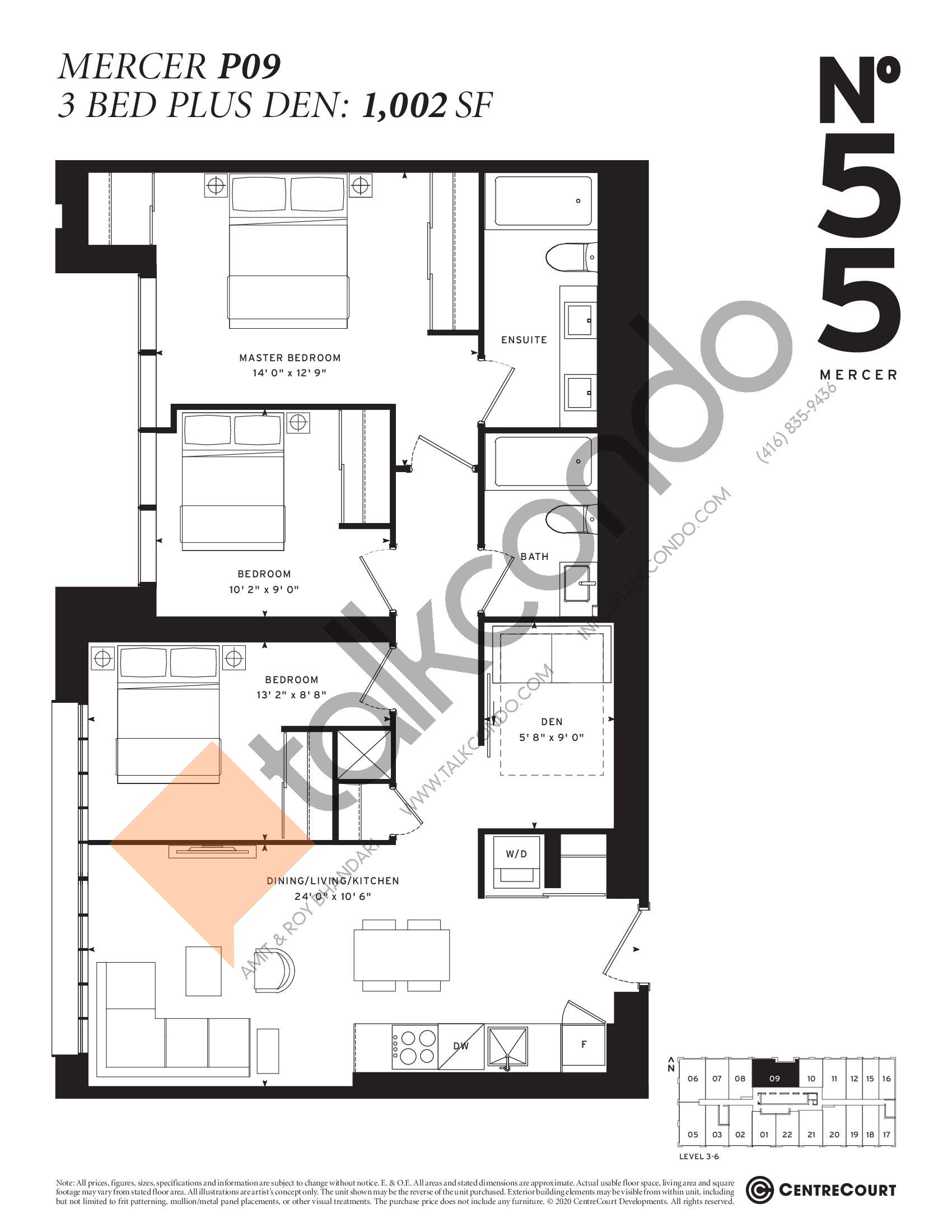 Mercer P09 Floor Plan at No. 55 Mercer Condos - 1002 sq.ft