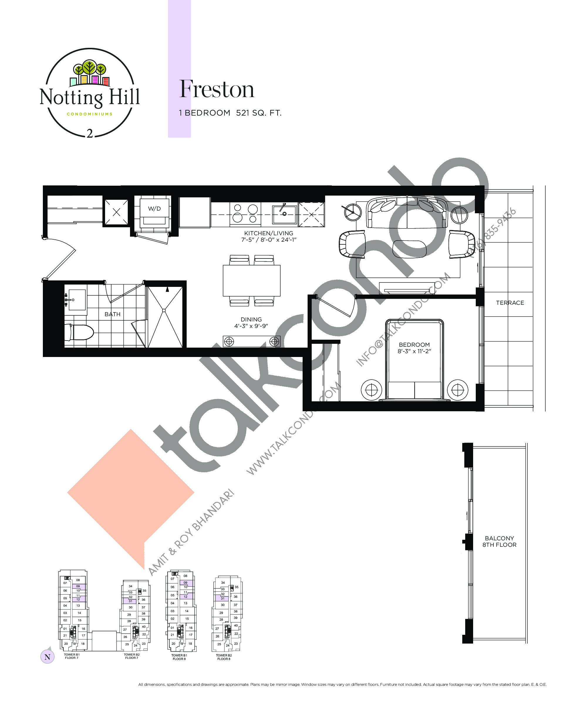 Freston Floor Plan at Notting Hill Phase 3 Condos - 521 sq.ft