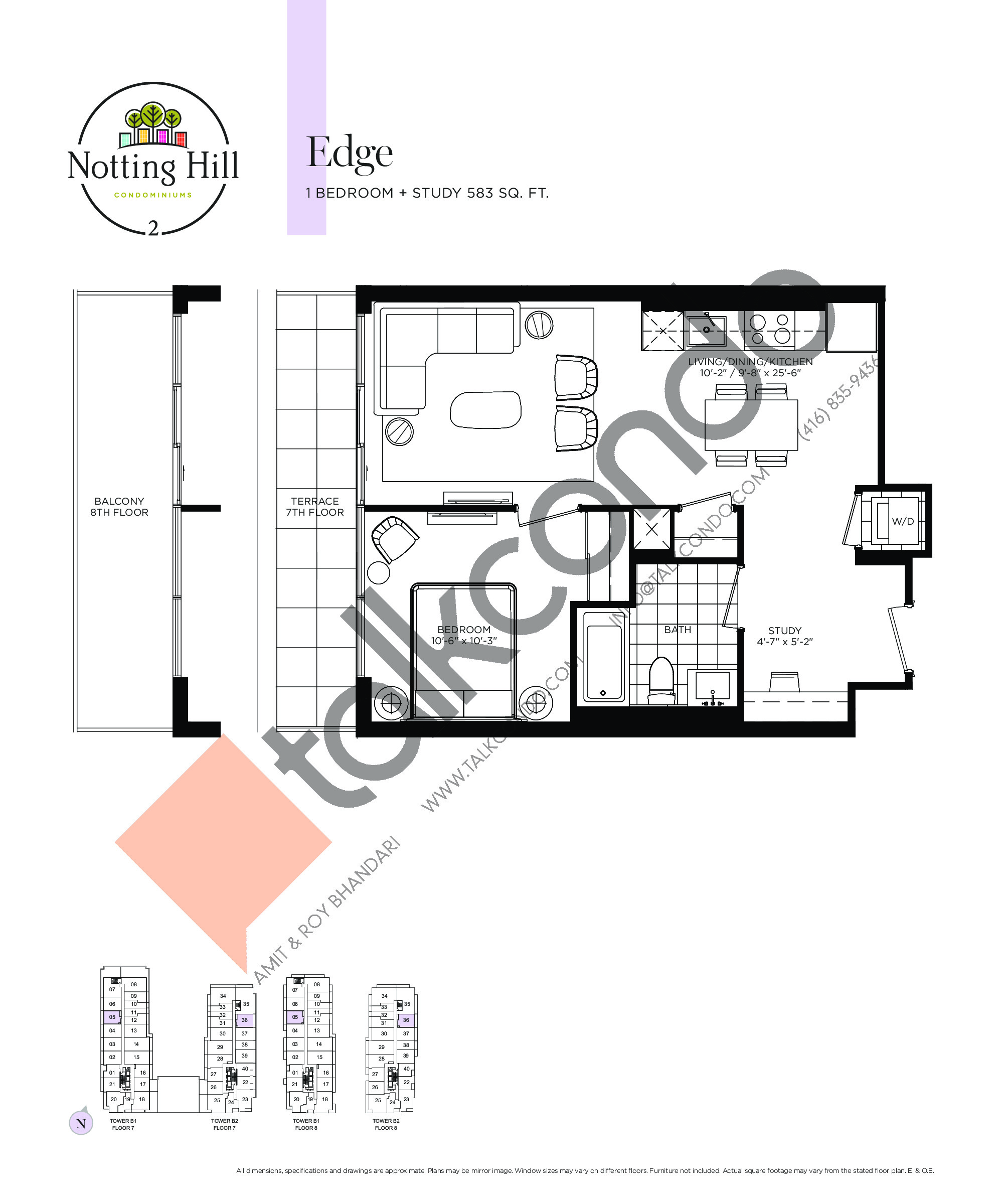 Edge Floor Plan at Notting Hill Phase 3 Condos - 583 sq.ft
