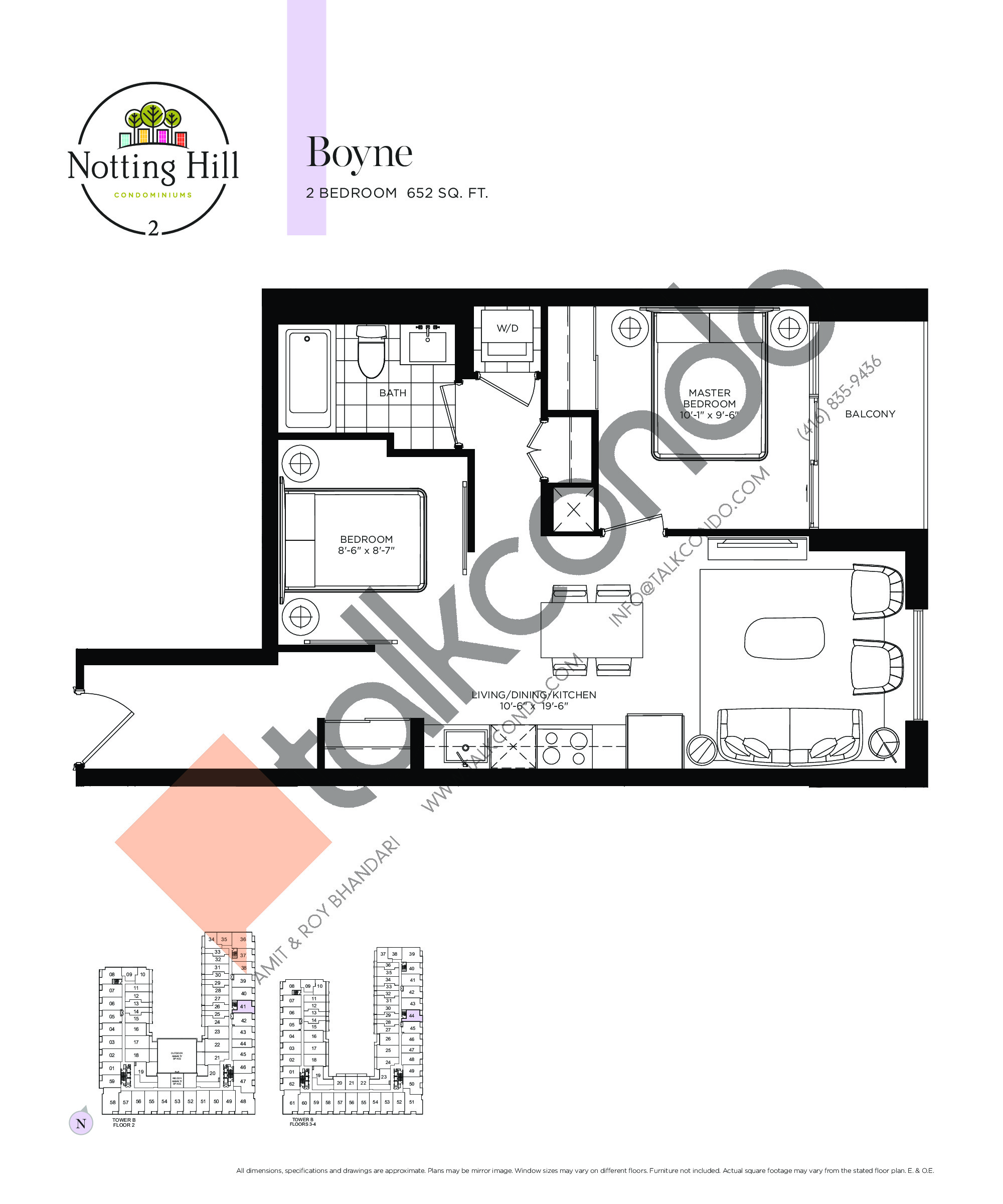 Boyne Floor Plan at Notting Hill Phase 3 Condos - 652 sq.ft