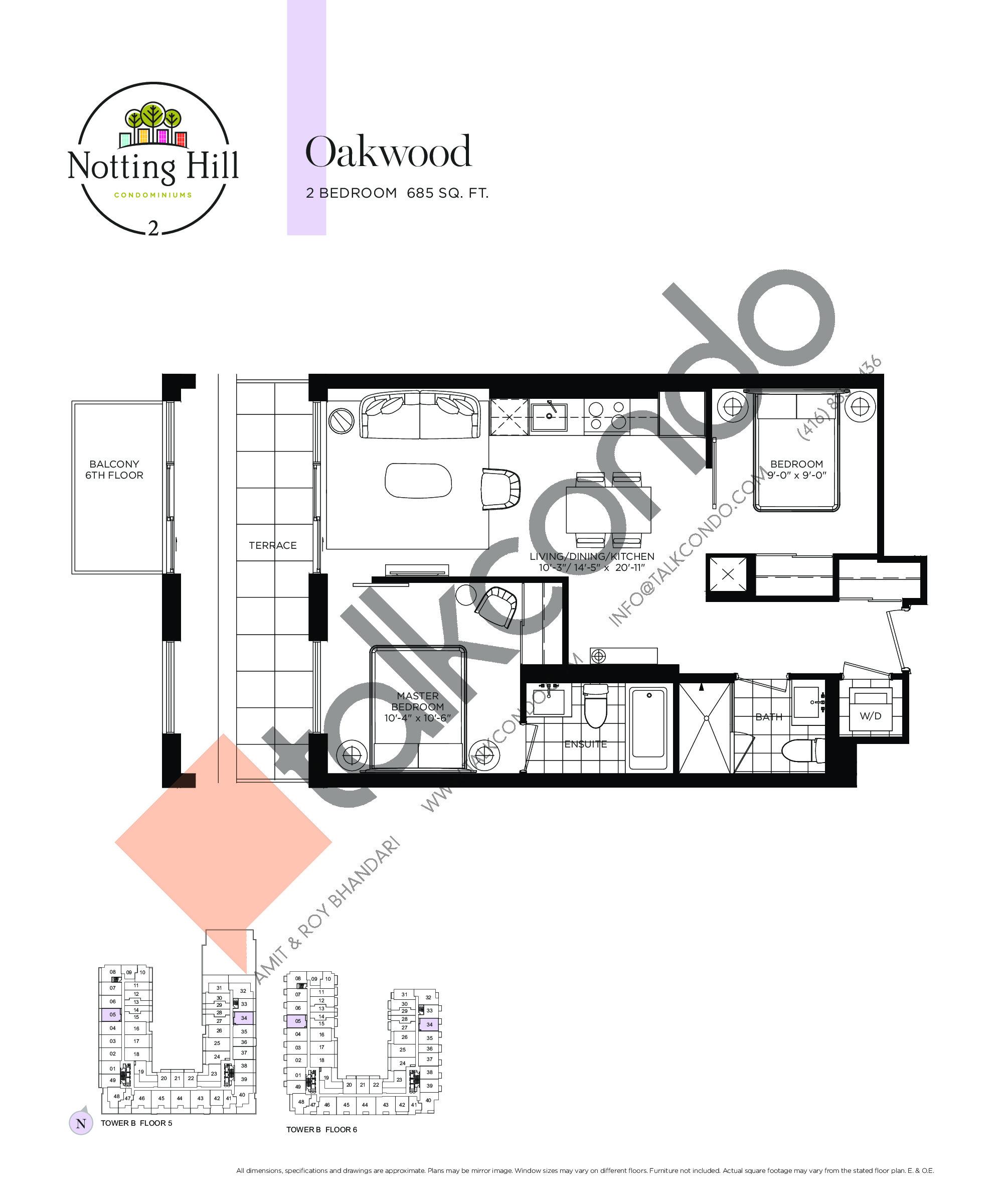 Oakwood Floor Plan at Notting Hill Phase 3 Condos - 685 sq.ft