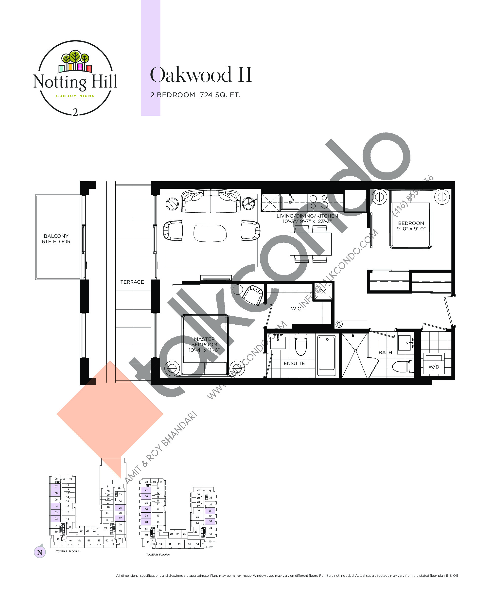 Oakwood II Floor Plan at Notting Hill Phase 3 Condos - 724 sq.ft