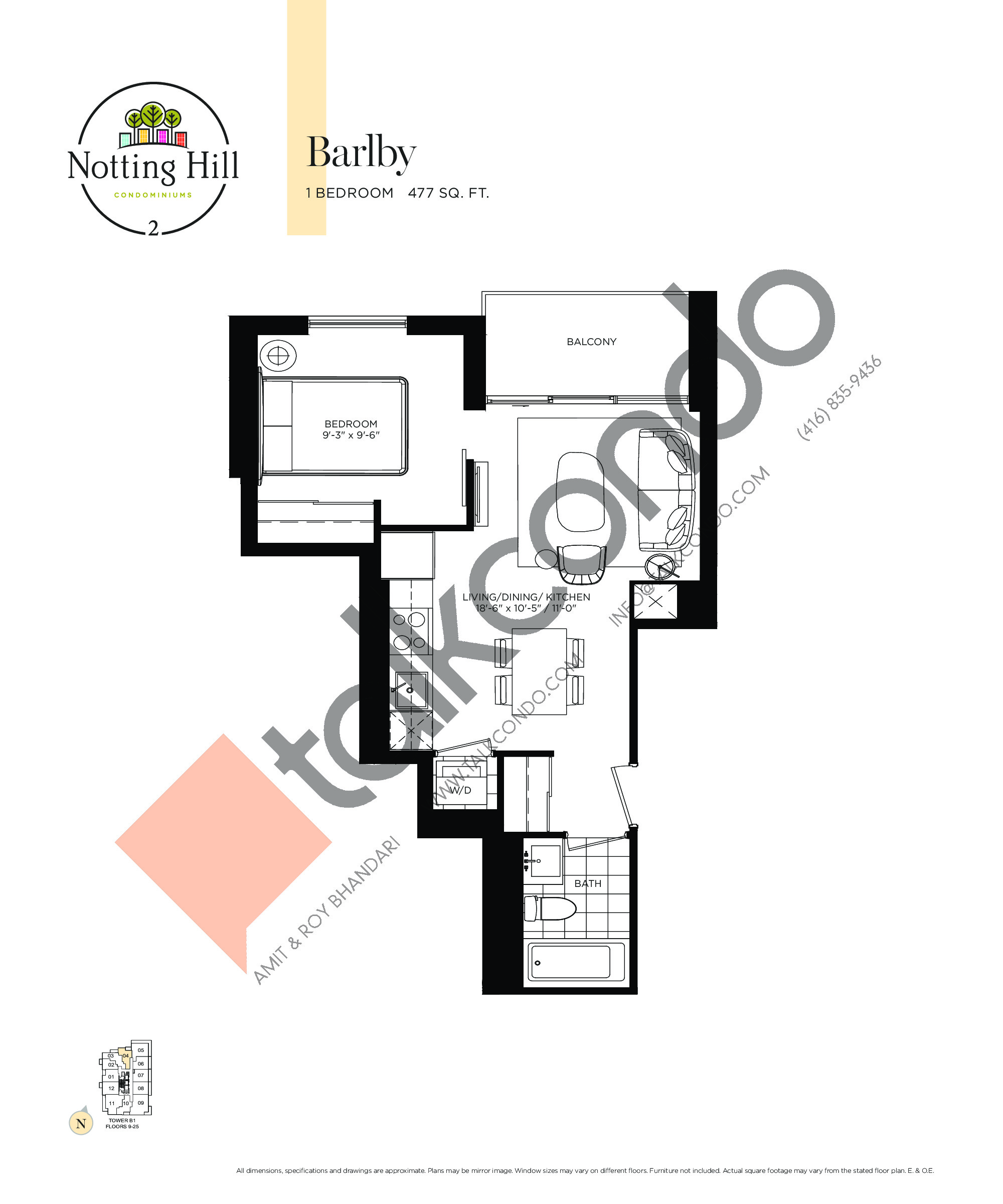 Barlby Floor Plan at Notting Hill Phase 3 Condos - 477 sq.ft