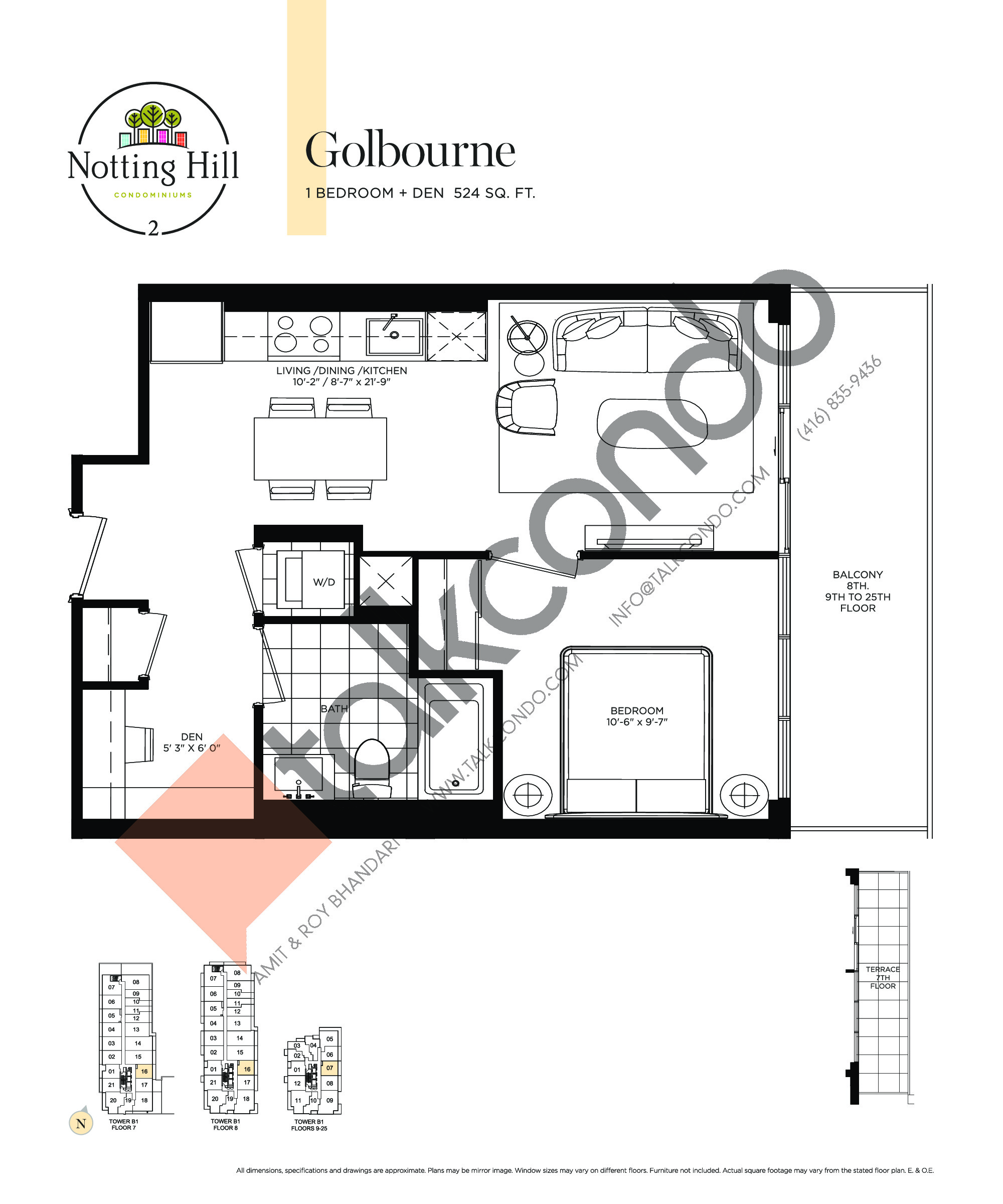 Golbourne Floor Plan at Notting Hill Phase 3 Condos - 524 sq.ft