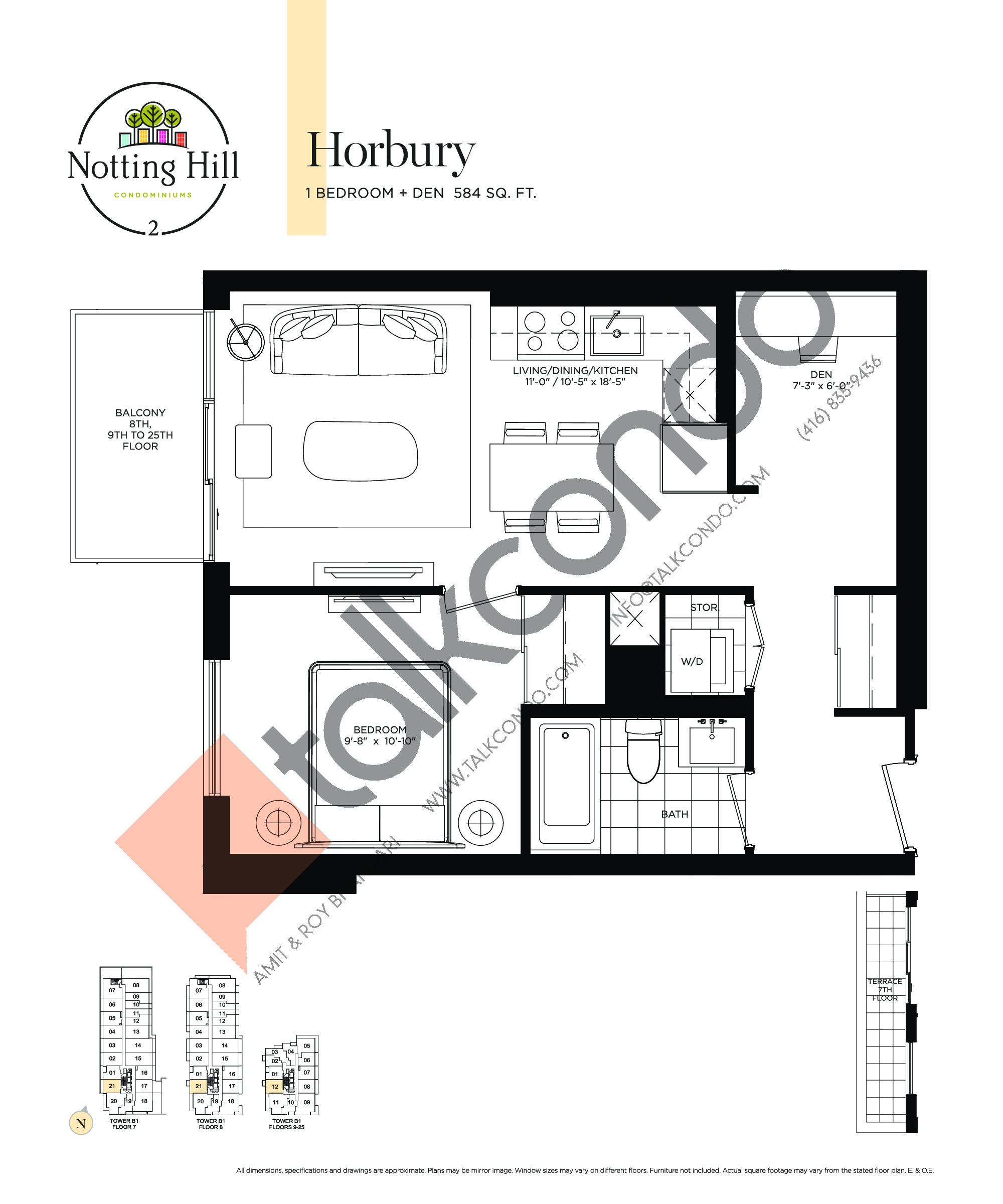 Horbury Floor Plan at Notting Hill Phase 3 Condos - 584 sq.ft