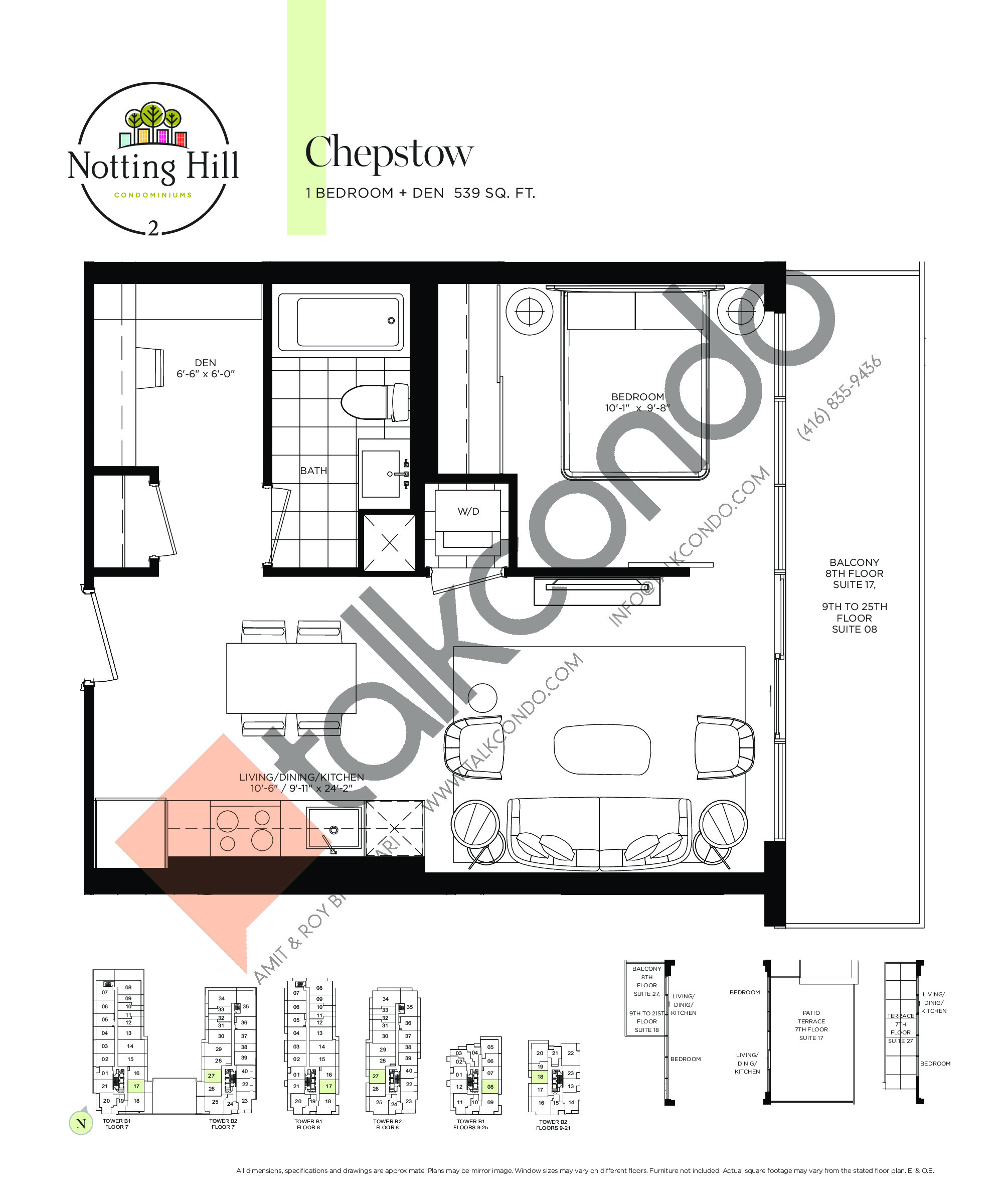 Chepstow Floor Plan at Notting Hill Phase 3 Condos - 539 sq.ft