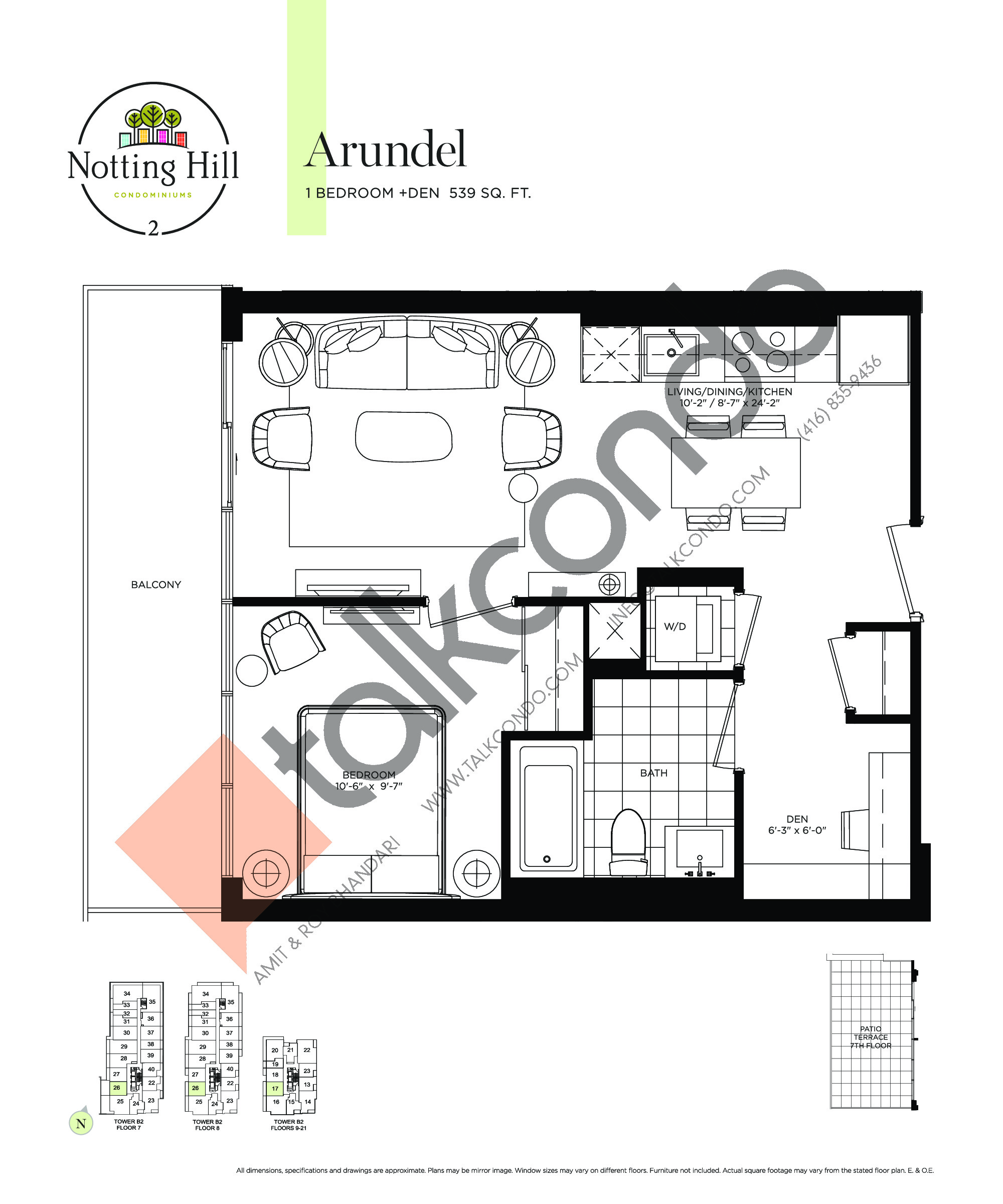 Arundel Floor Plan at Notting Hill Phase 3 Condos - 539 sq.ft