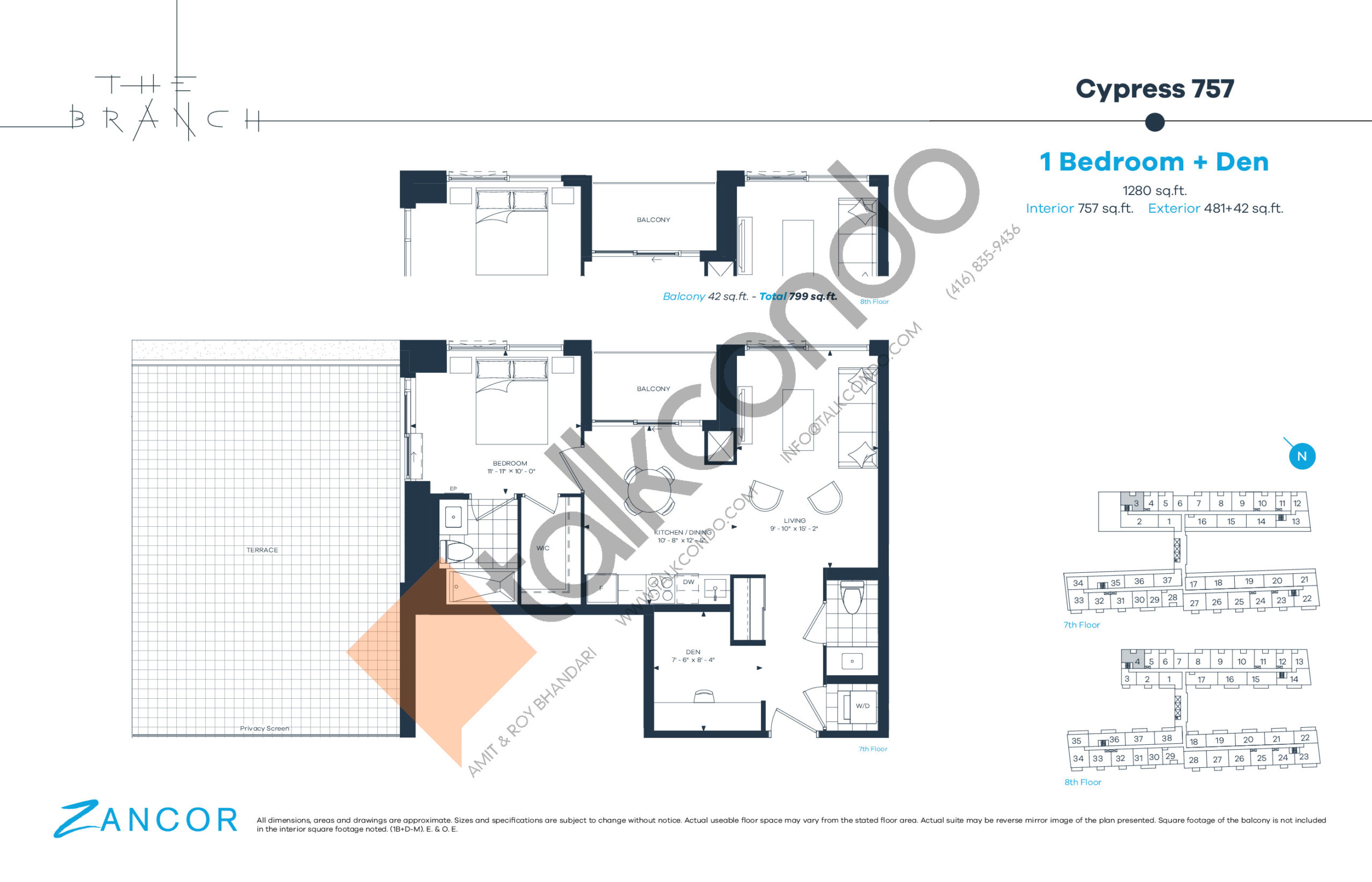 Cypress 757 Floor Plan at The Branch Condos - 757 sq.ft