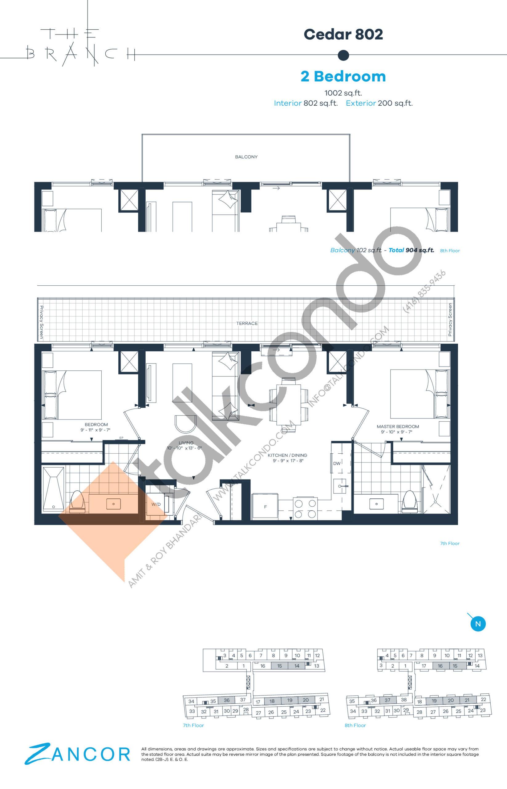 Cedar 802 Floor Plan at The Branch Condos - 802 sq.ft