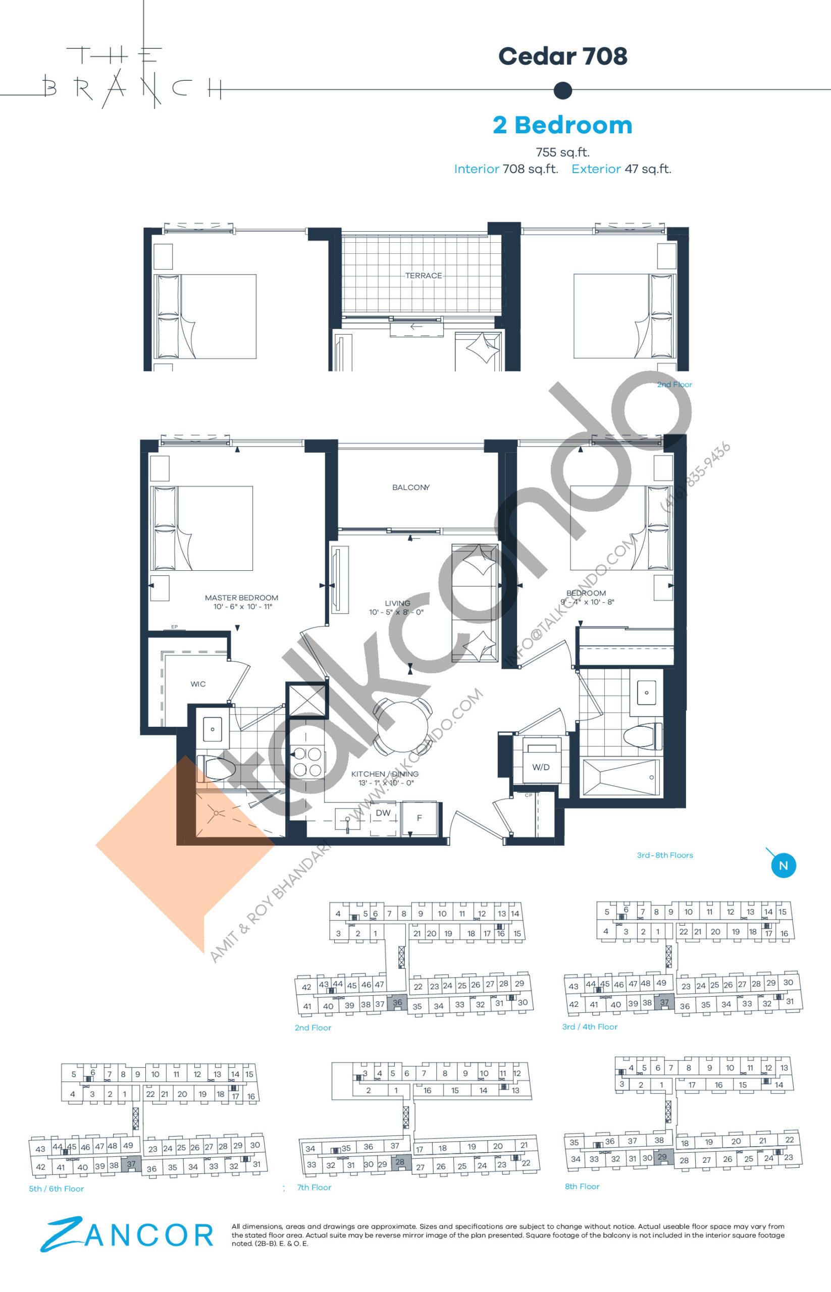 Cedar 708 Floor Plan at The Branch Condos - 708 sq.ft