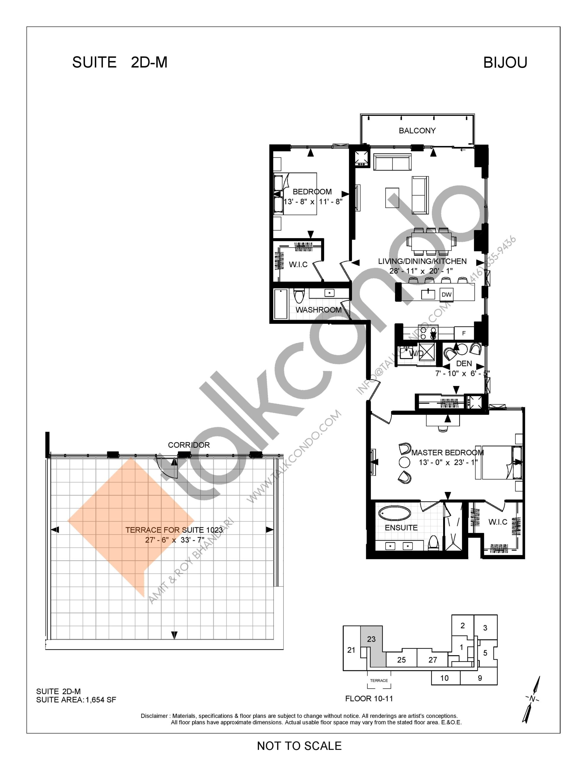 Suite 2D-M Floor Plan at Bijou On Bloor Condos - 1654 sq.ft