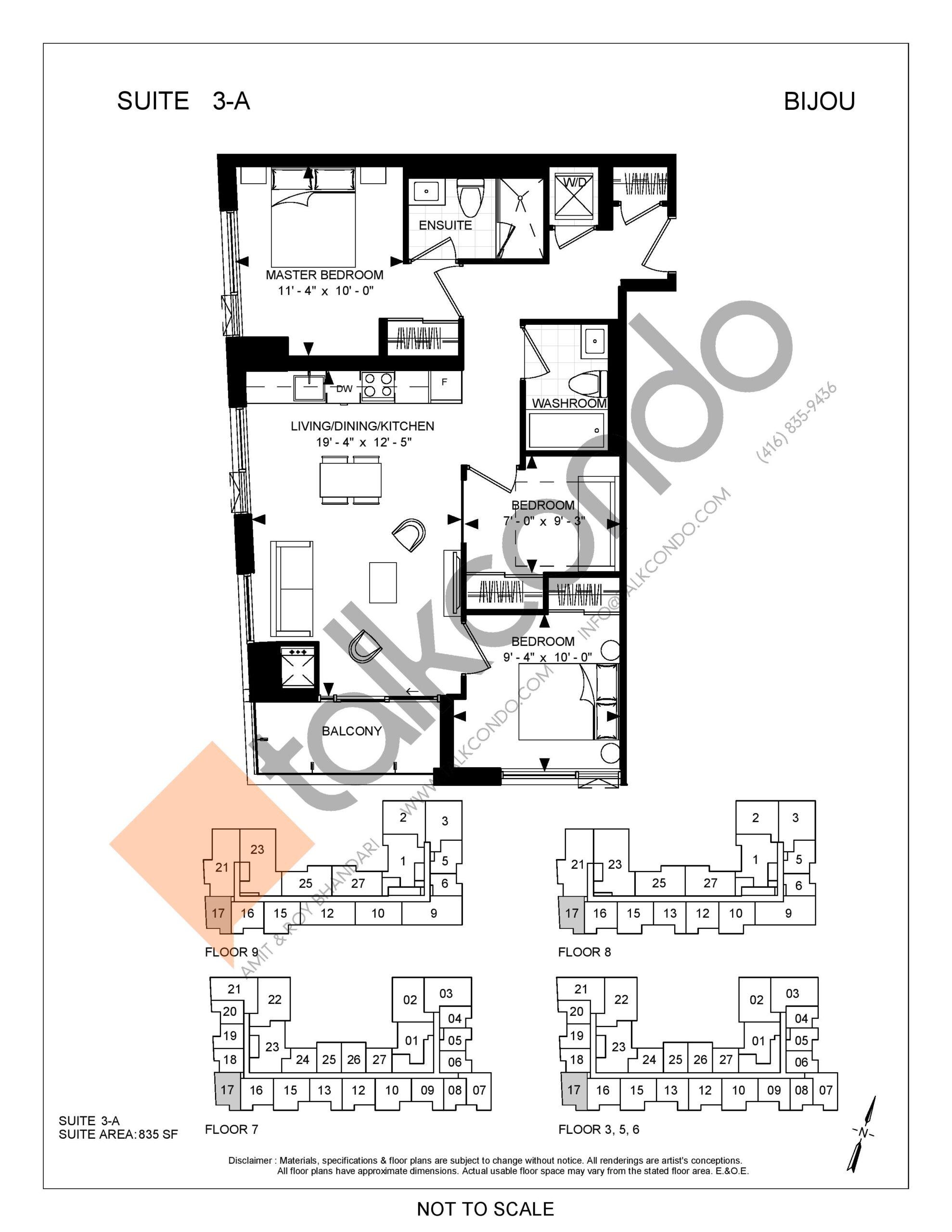 Suite 3-A Floor Plan at Bijou On Bloor Condos - 835 sq.ft