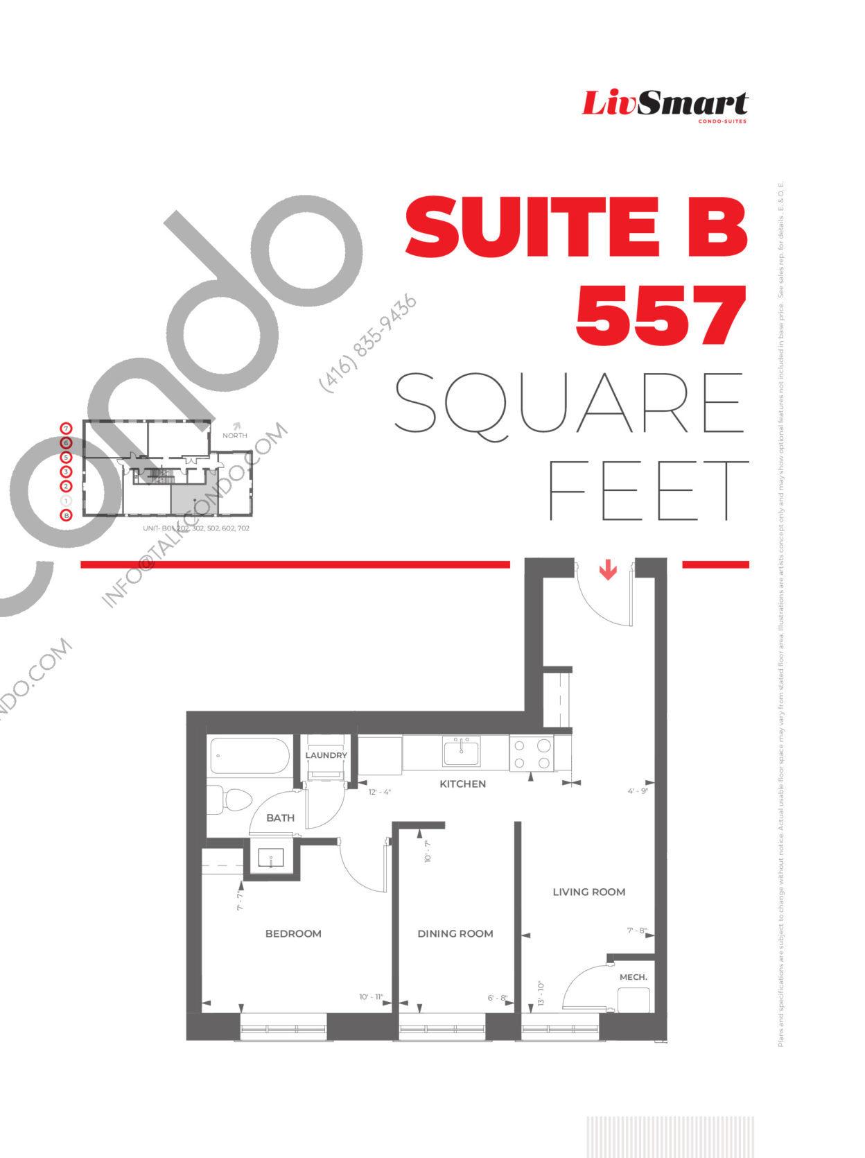 Suite B Floor Plan at LivSmart Condos - 557 sq.ft