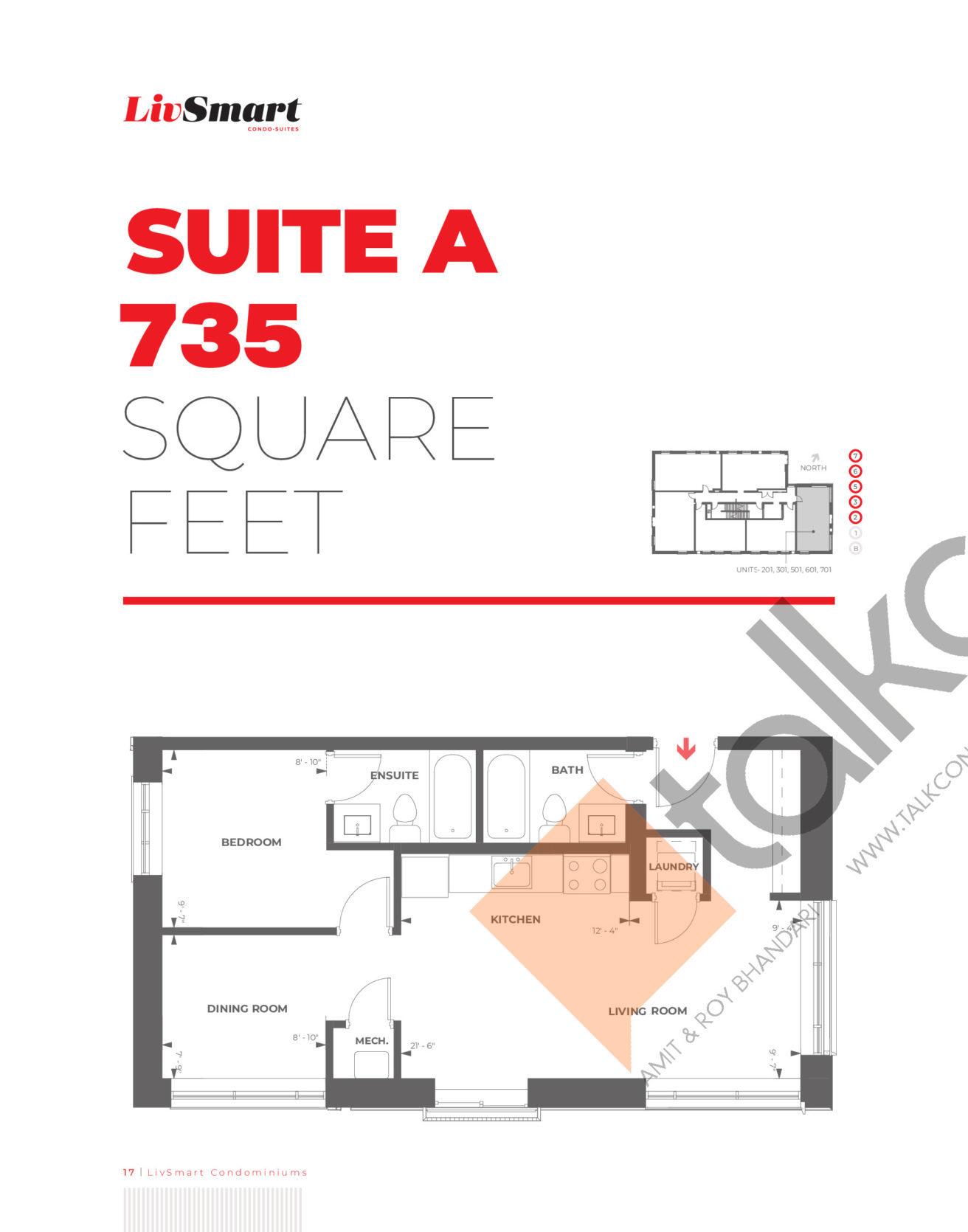 Suite A Floor Plan at LivSmart Condos - 735 sq.ft