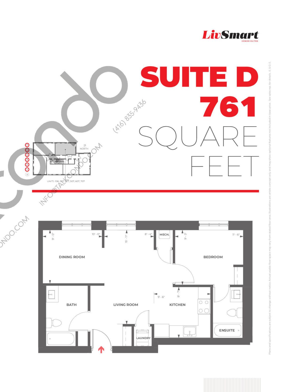 Suite D Floor Plan at LivSmart Condos - 761 sq.ft