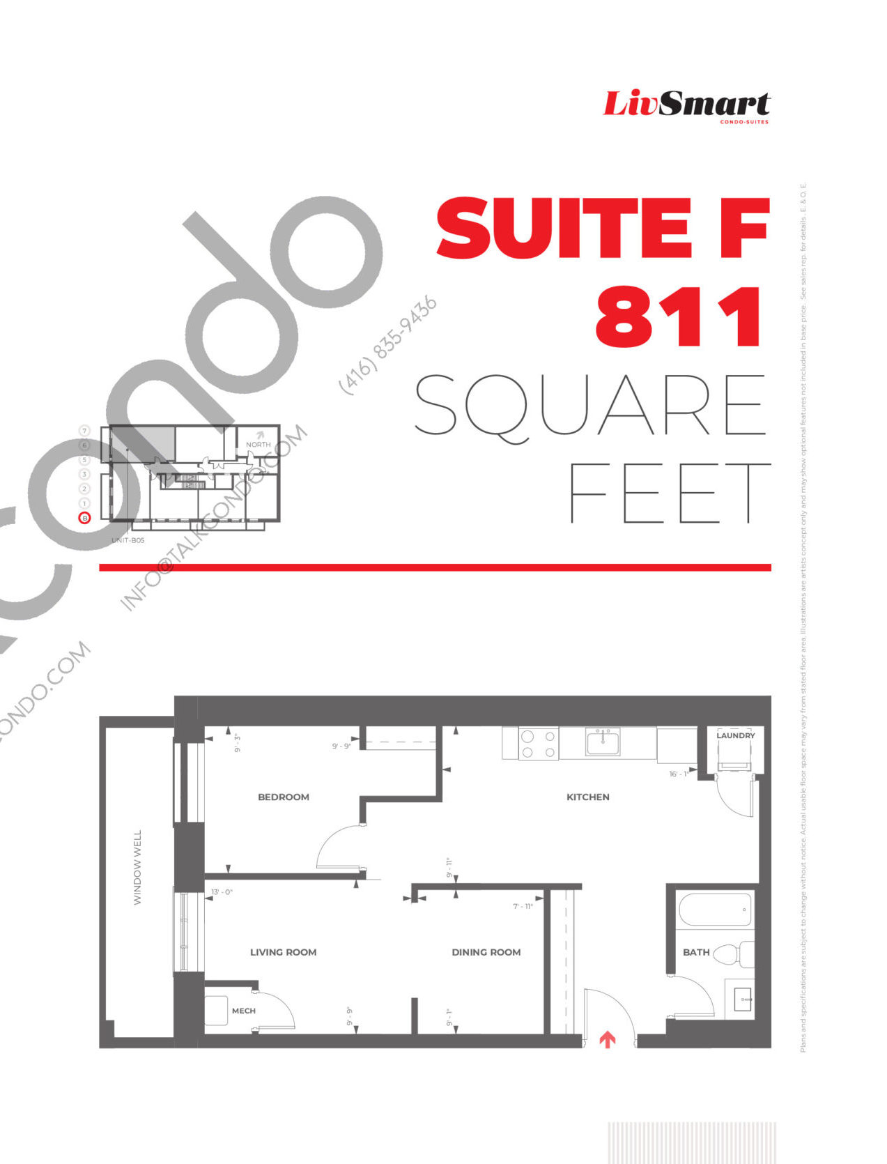 Suite F Floor Plan at LivSmart Condos - 811 sq.ft