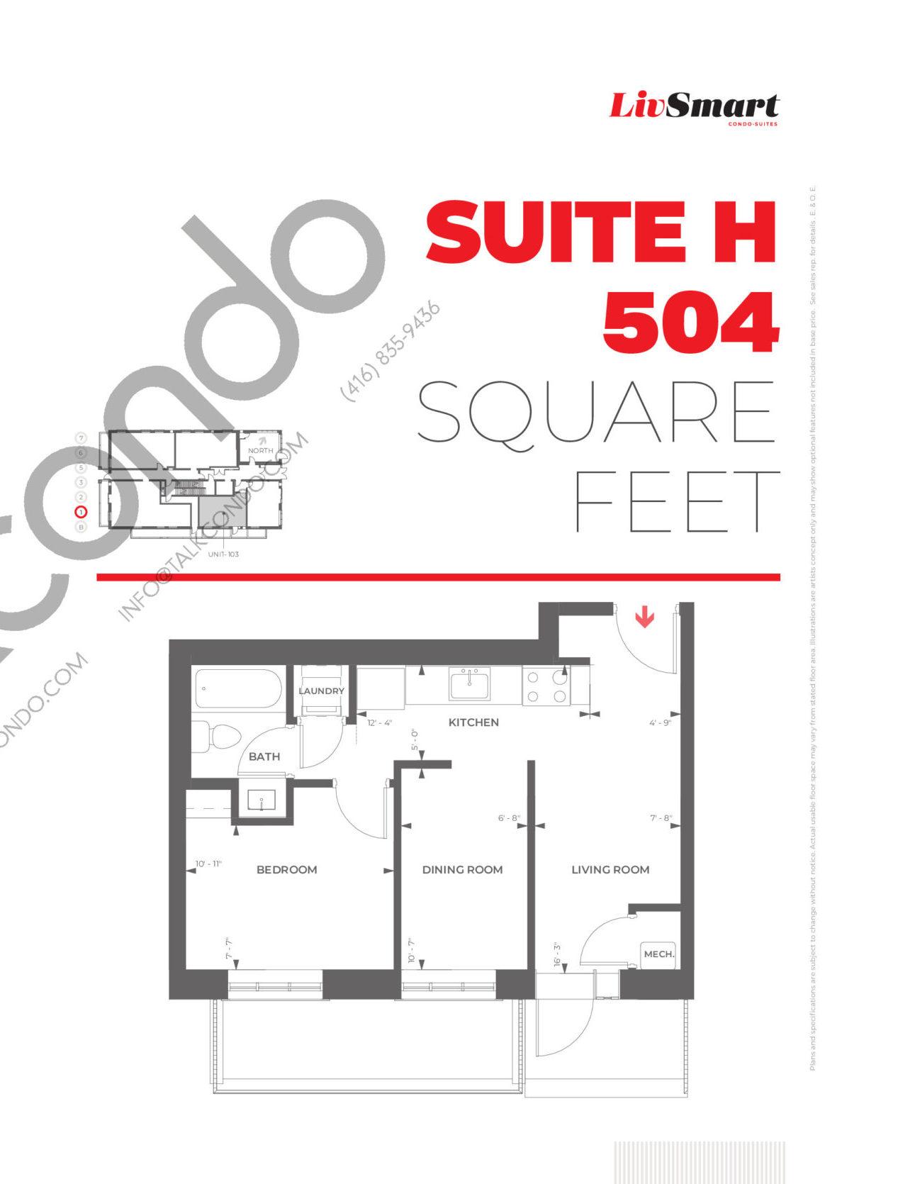 Suite H Floor Plan at LivSmart Condos - 504 sq.ft