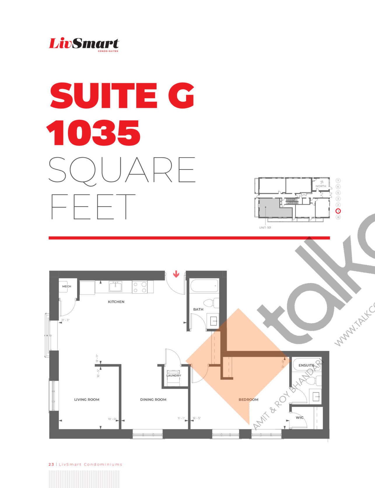 Suite G Floor Plan at LivSmart Condos - 1035 sq.ft