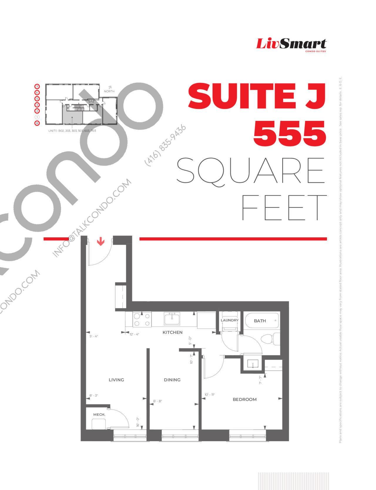 Suite J Floor Plan at LivSmart Condos - 555 sq.ft