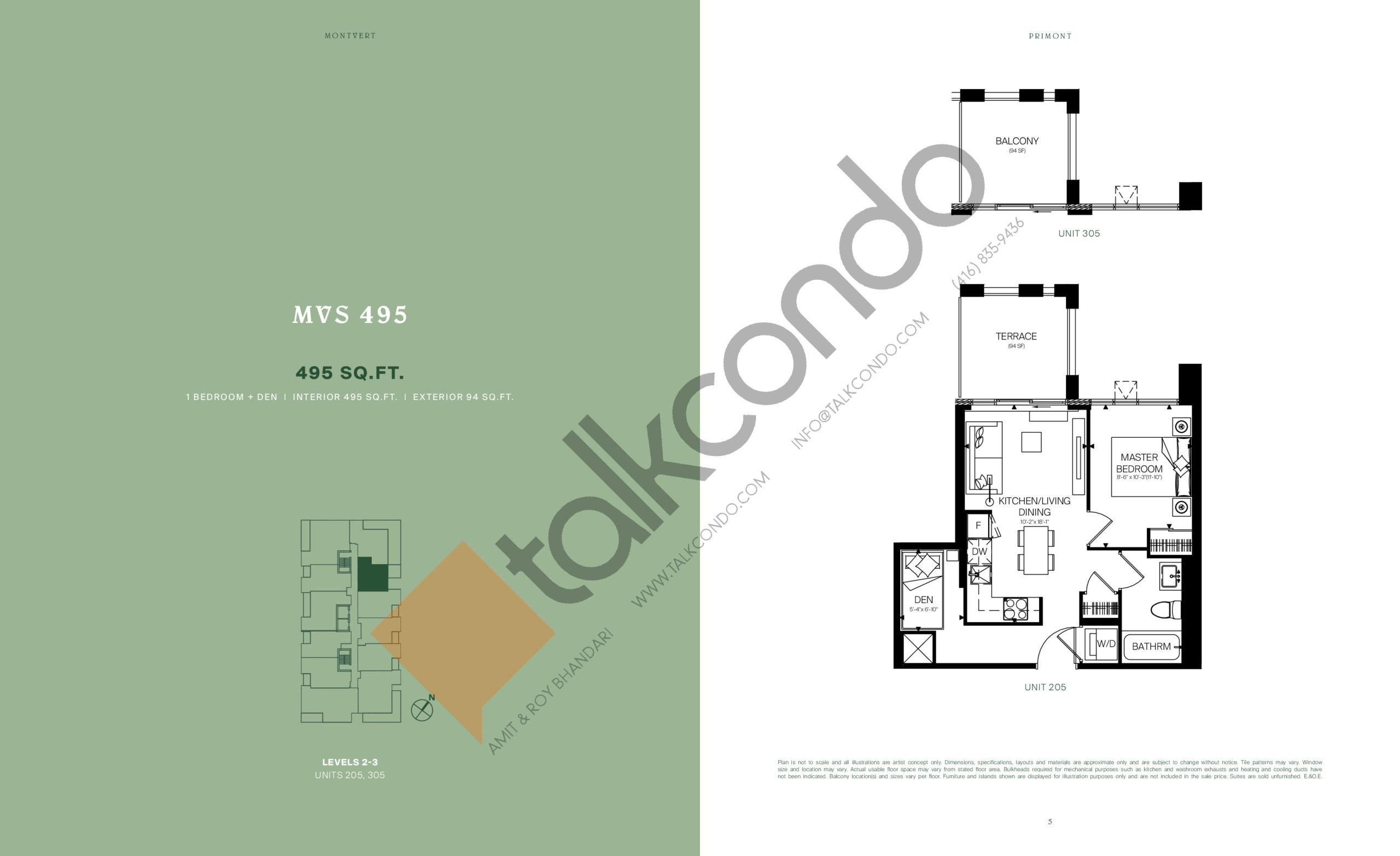 MVS 495 Floor Plan at MontVert Condos - 495 sq.ft