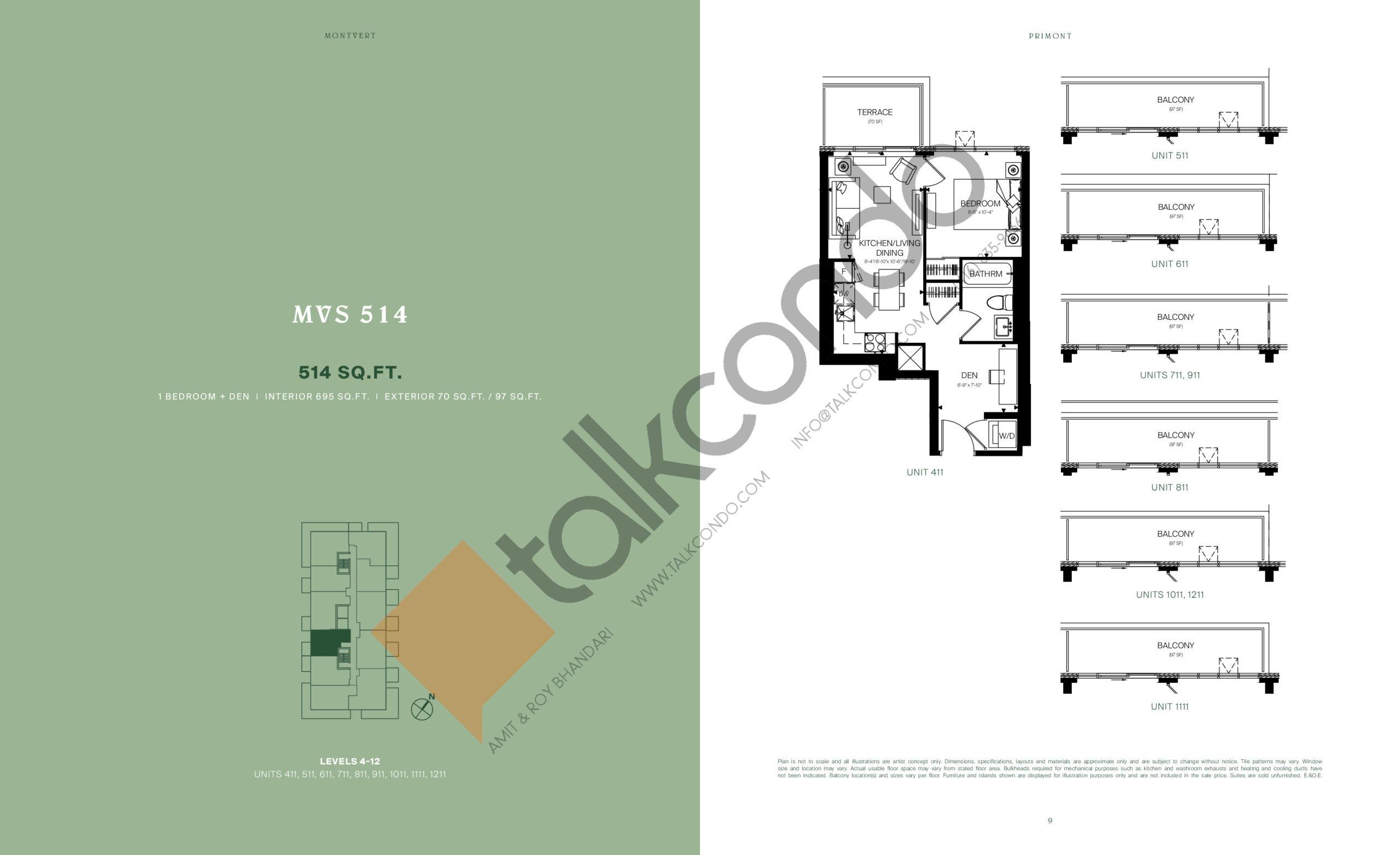 MVS 514 Floor Plan at MontVert Condos - 514 sq.ft